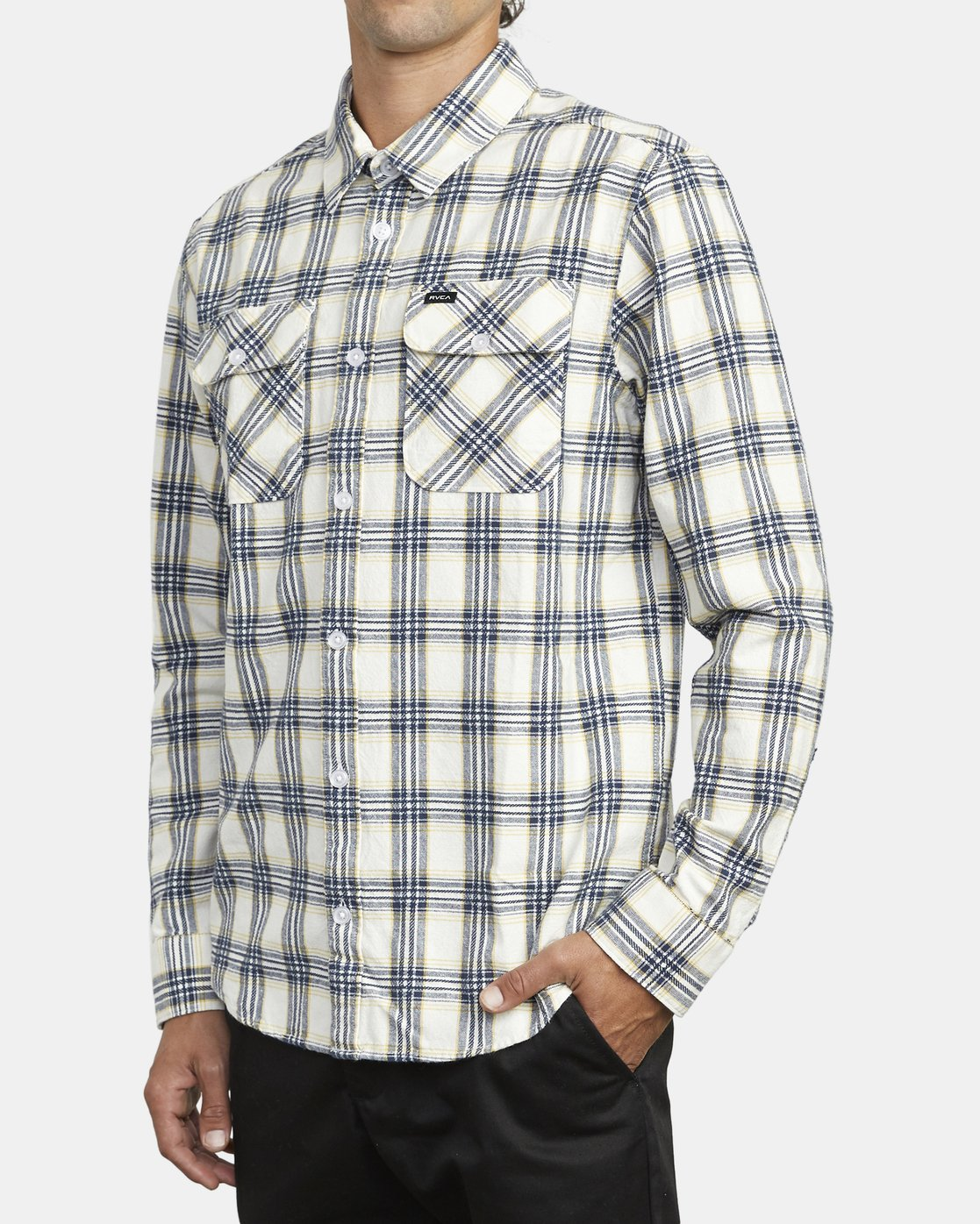 3 THATLL WORK FLANNEL LONG SLEEVE SHIRT White M5993RTW RVCA
