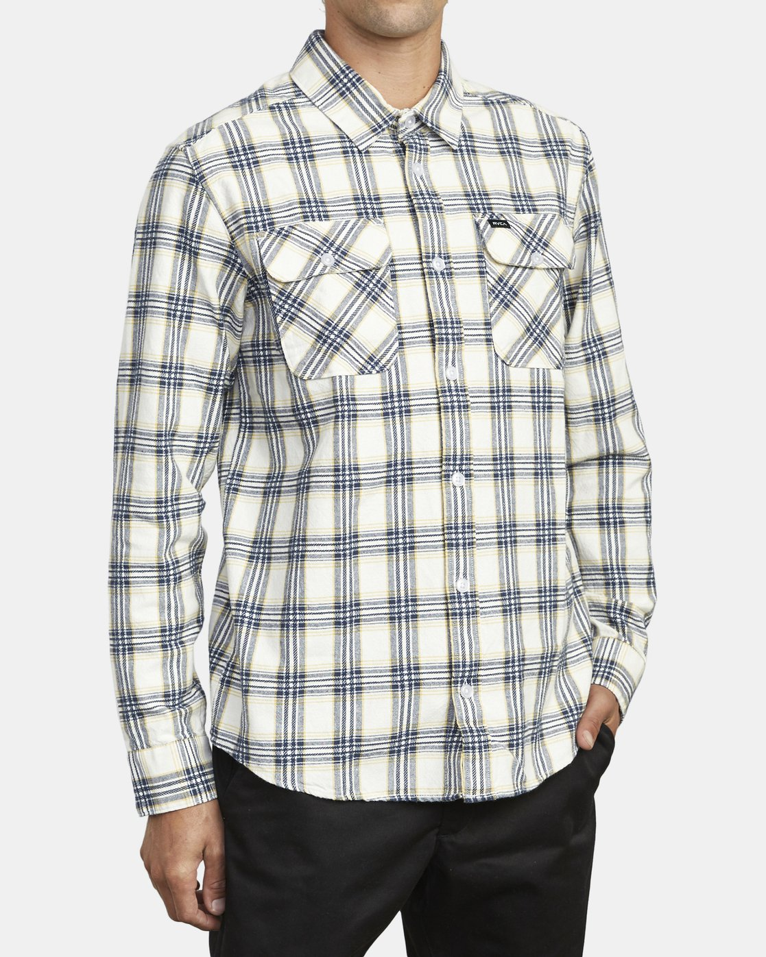 4 THATLL WORK FLANNEL LONG SLEEVE SHIRT White M5993RTW RVCA