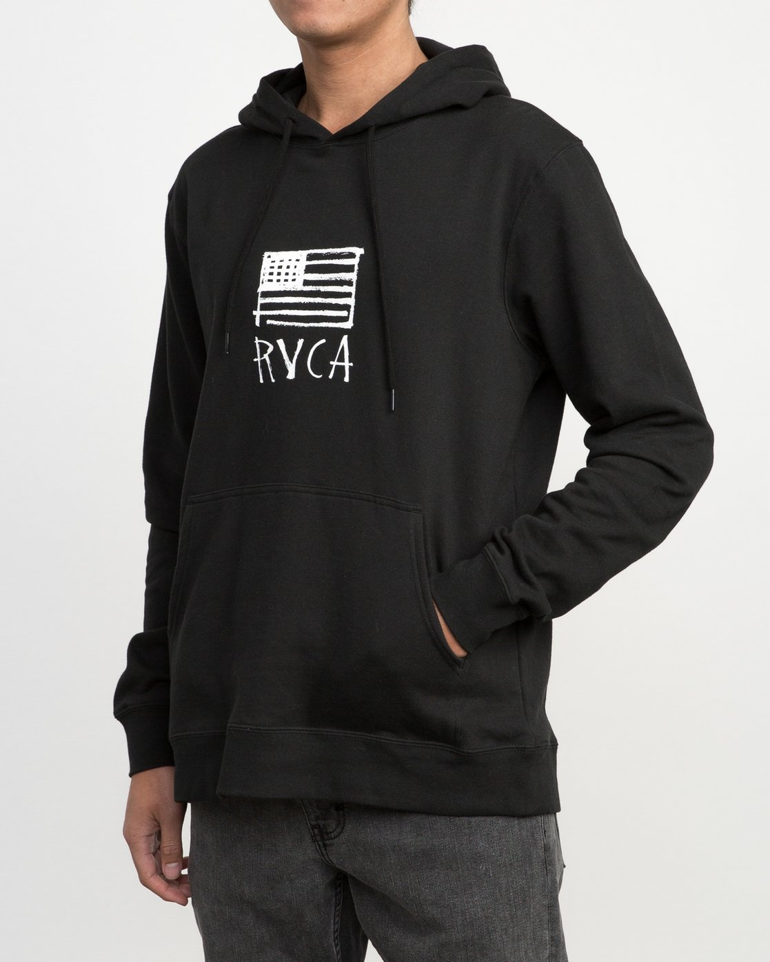 2 Horton Flag Fleece Hoodie Black M602PRHO RVCA