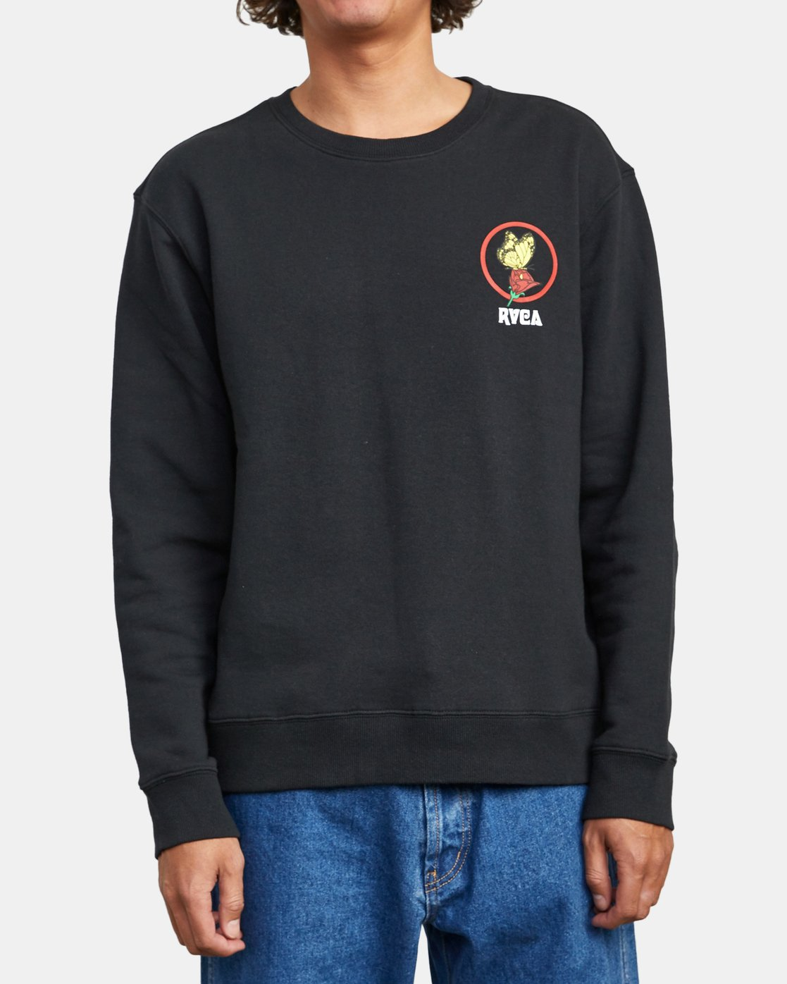 2 NOTHING CREW SWEATSHIRT Black M6083RNC RVCA