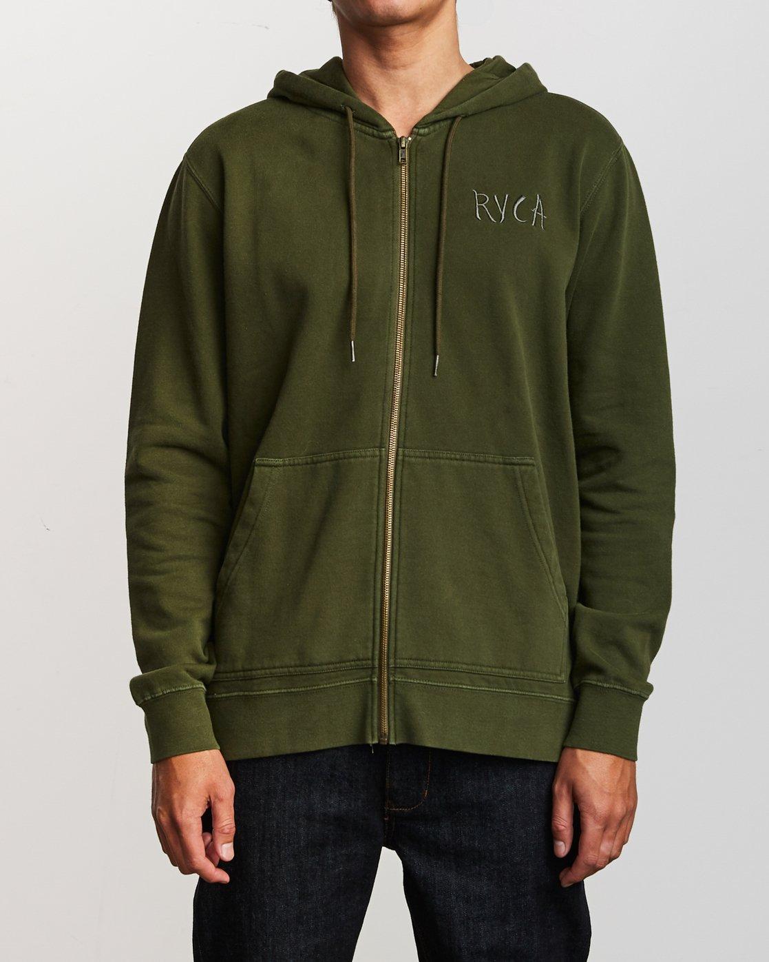 1 Tonally Zip Pigment Hoodie Green M633VRTZ RVCA