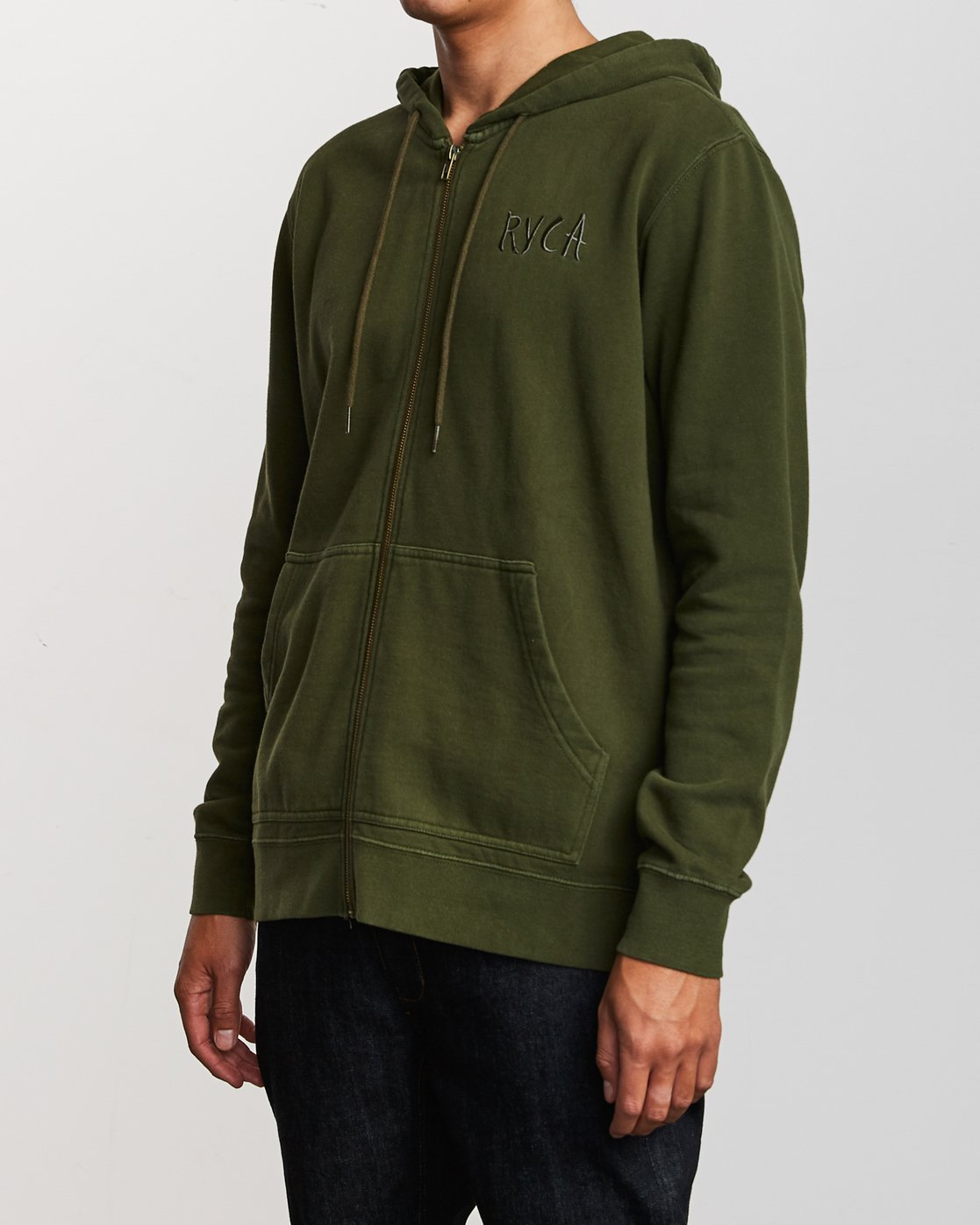 2 Tonally Zip Pigment Hoodie Green M633VRTZ RVCA