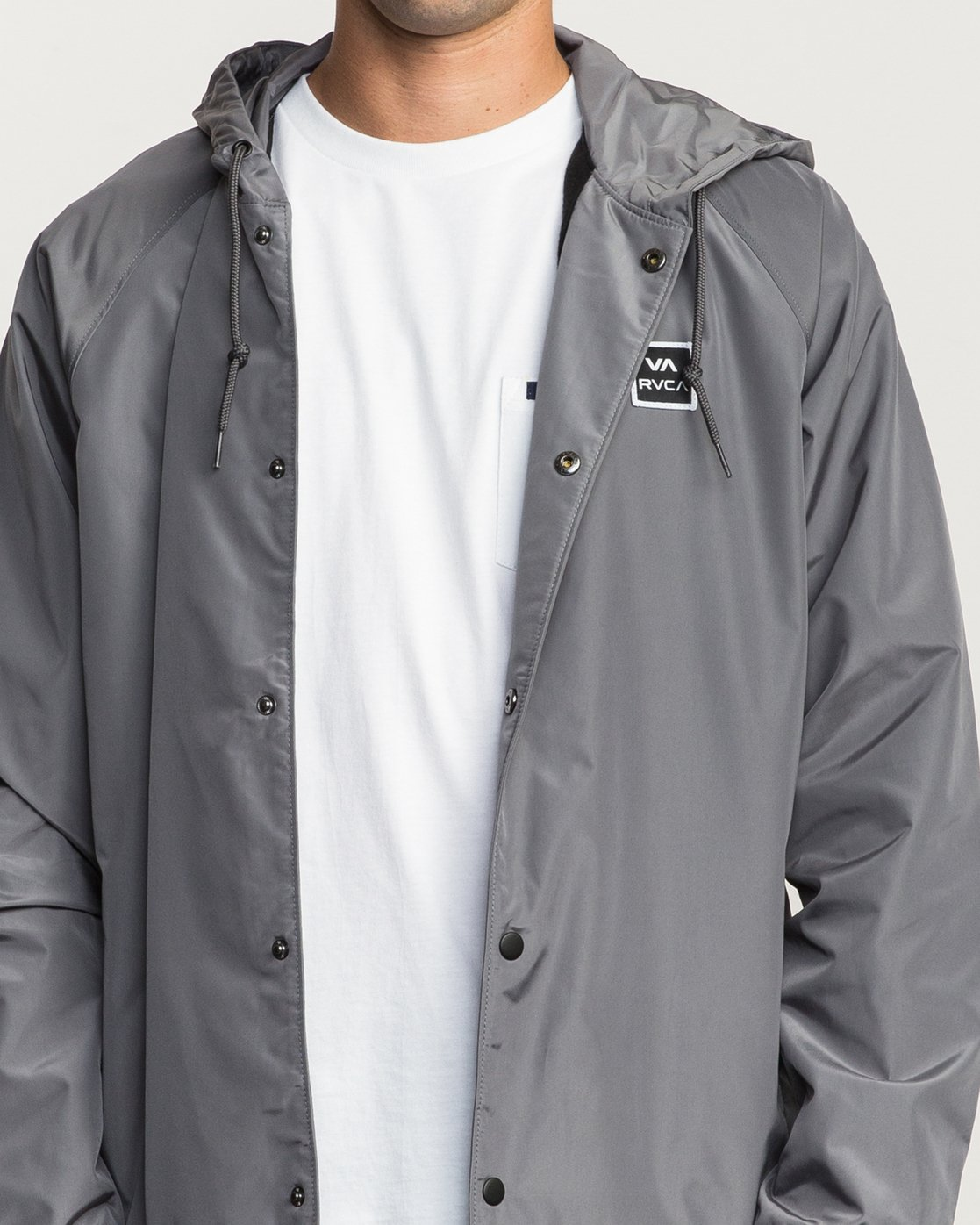 5 VA Hooded Coaches Jacket Grey M701NRVA RVCA
