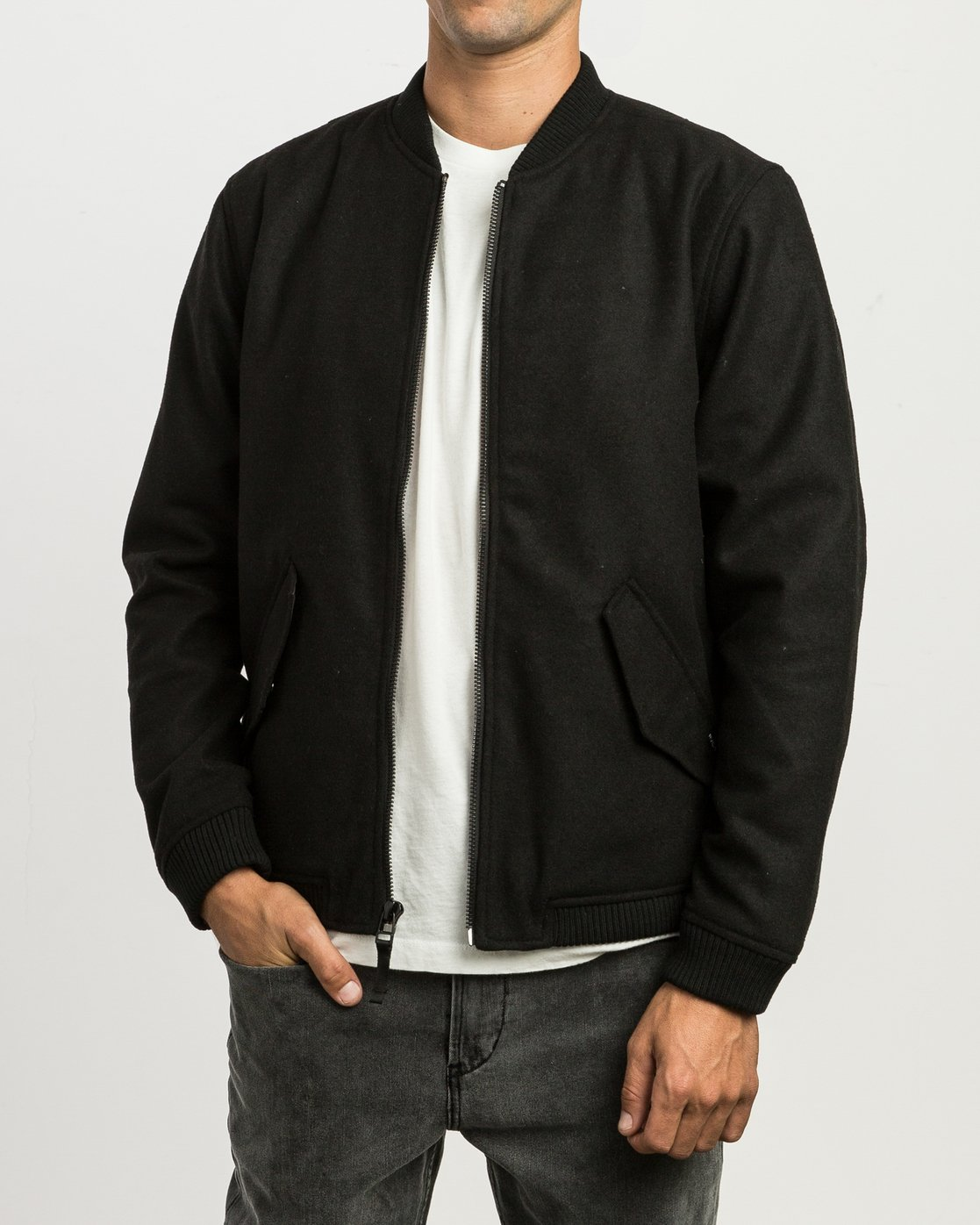 1 Collective Wool Bomber Jacket Black M704SRVO RVCA