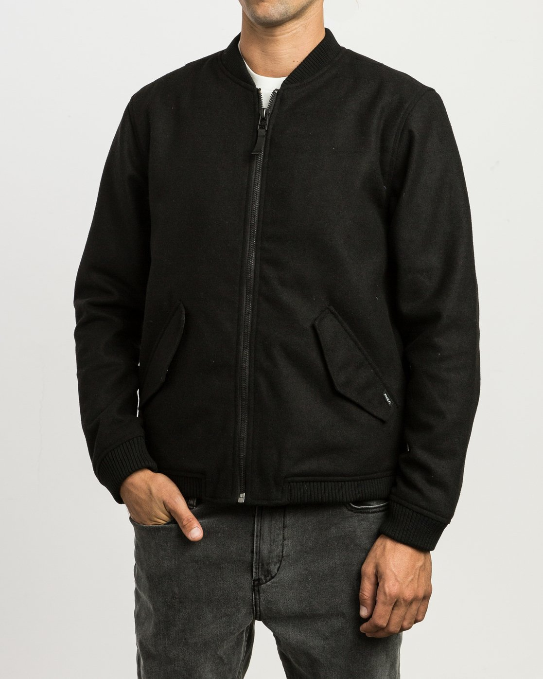 2 Collective Wool Bomber Jacket Black M704SRVO RVCA