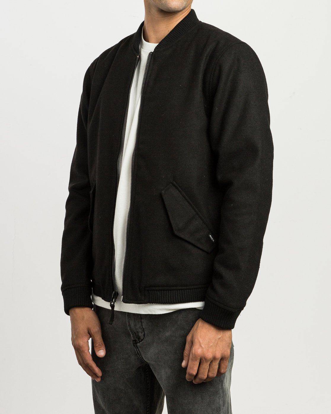 3 Collective Wool Bomber Jacket Black M704SRVO RVCA