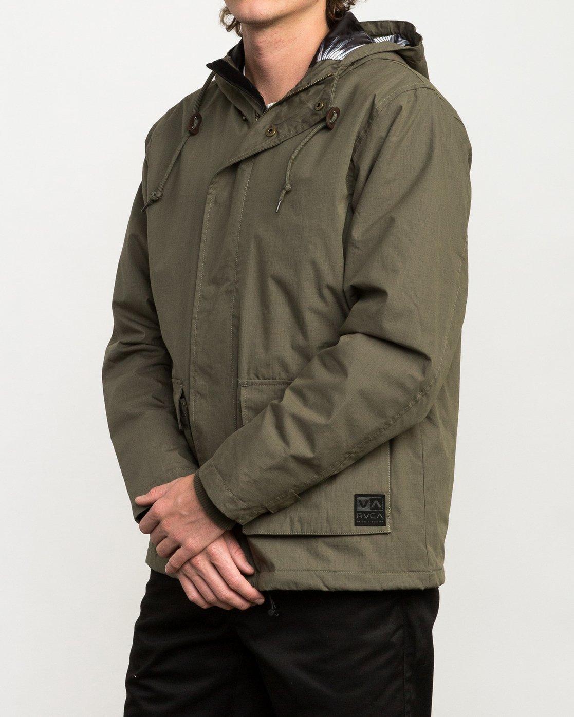 3 Puffer Parka Jacket Green M705QRPU RVCA