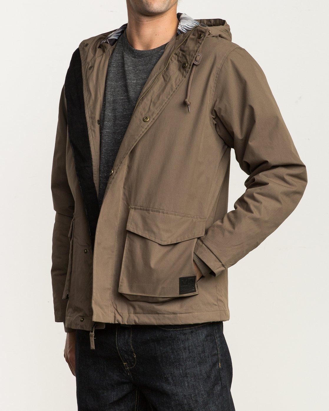 3 Puffer Parka Jacket Beige M705QRPU RVCA