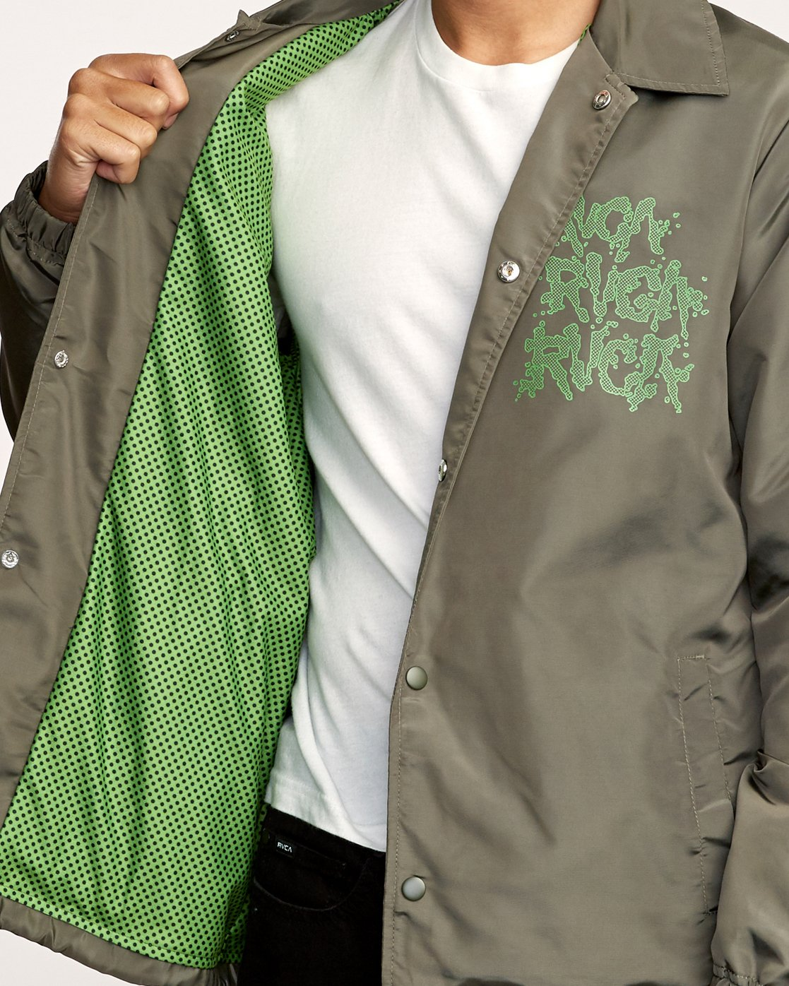6 Berni Coaches Jacket Green M721VRBE RVCA