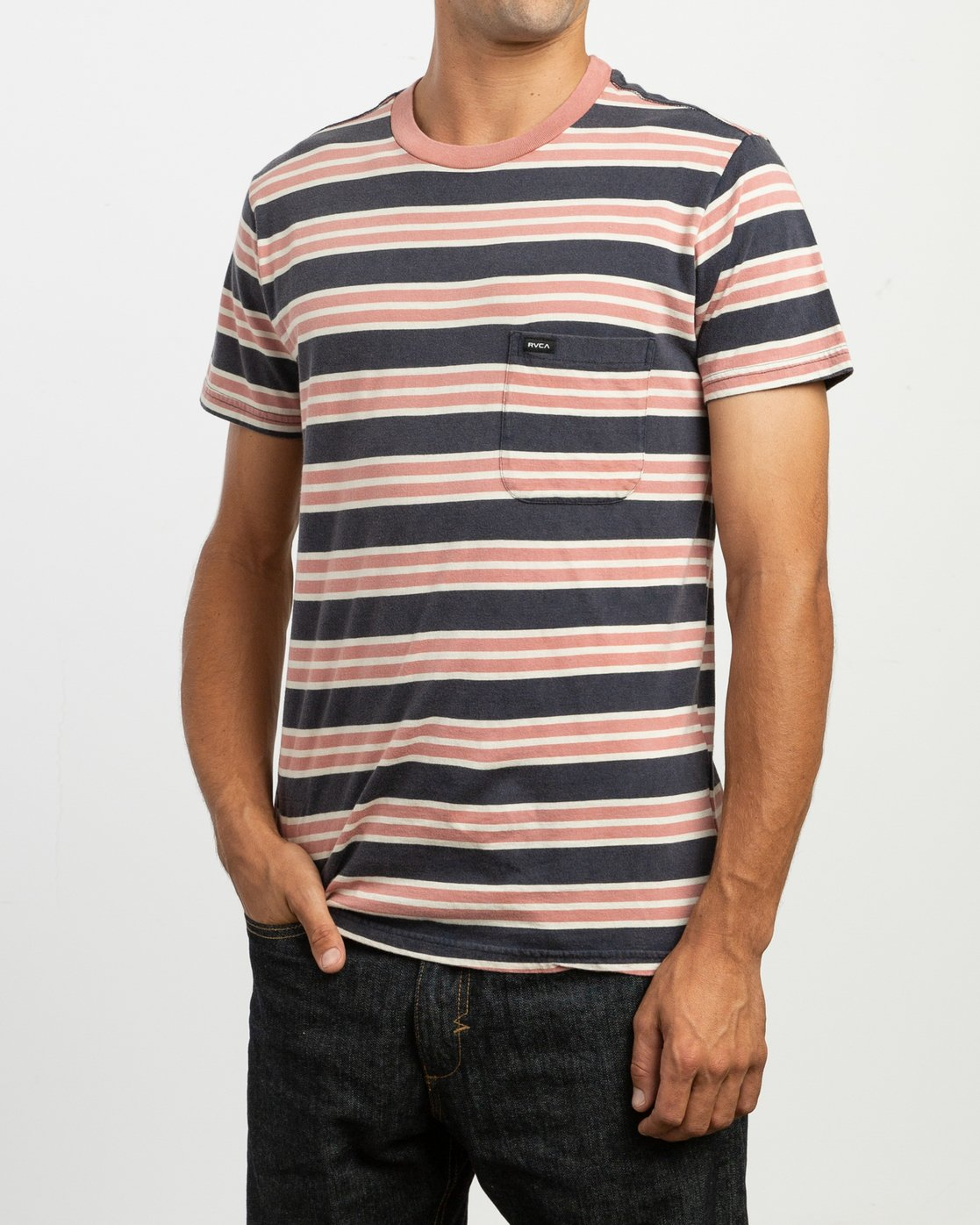 3 Lucas Striped Knit T-Shirt  M901TRLS RVCA