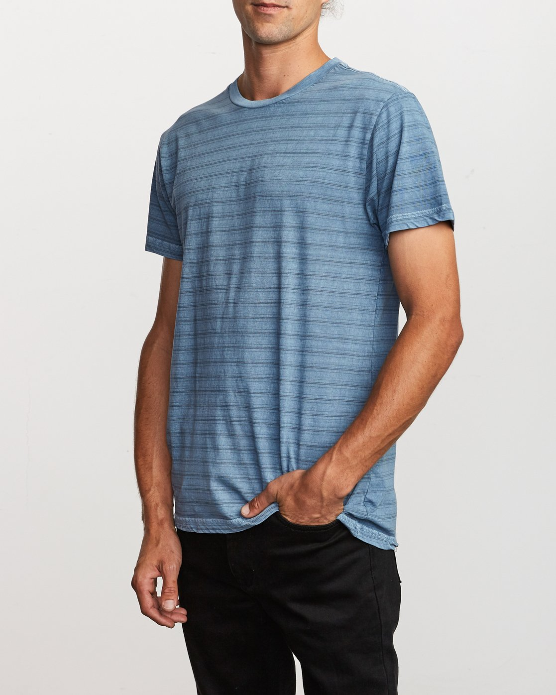 2 Saturation Stripe Knit T-Shirt Blue M901VRSS RVCA