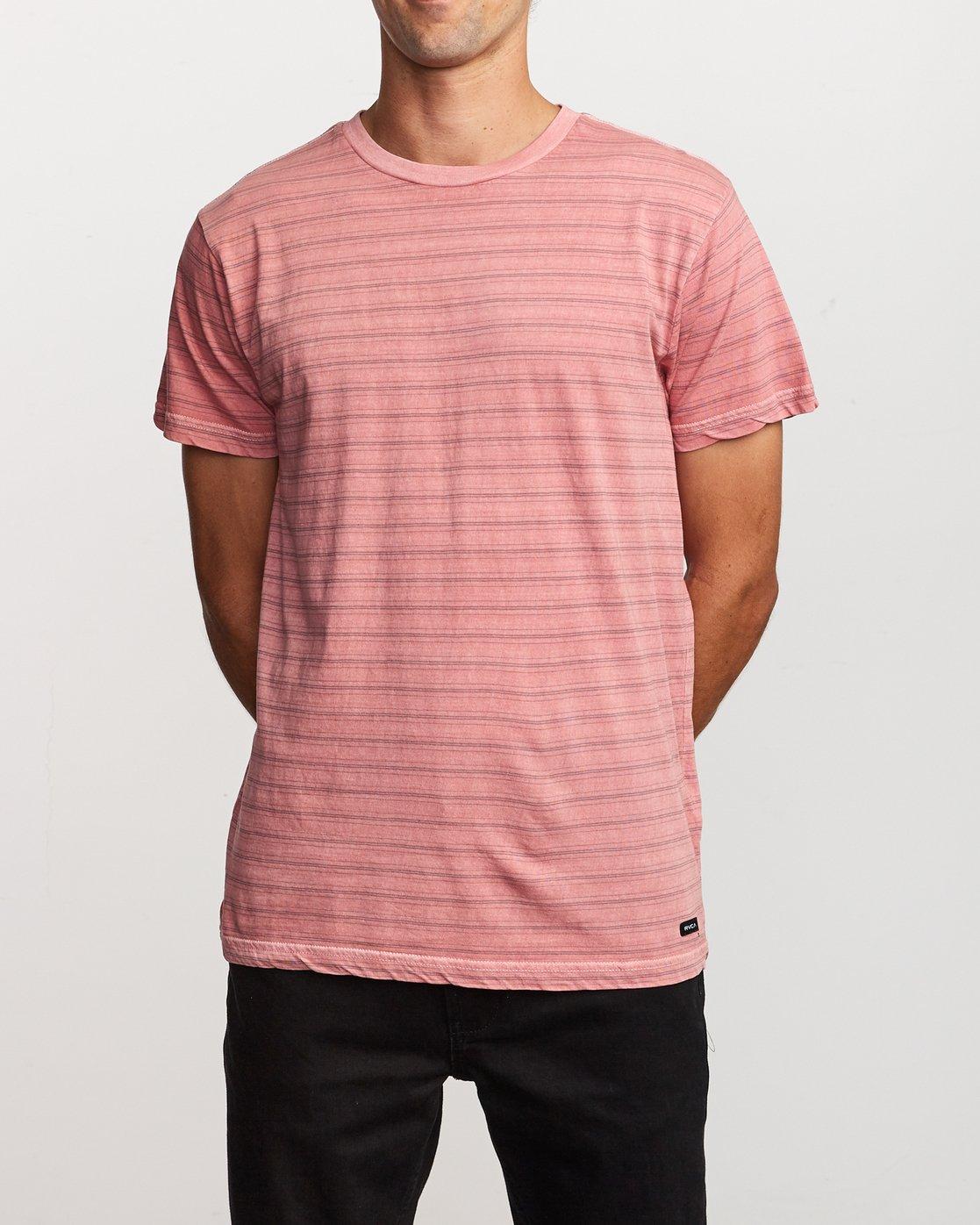 1 Saturation Stripe Knit T-Shirt Pink M901VRSS RVCA