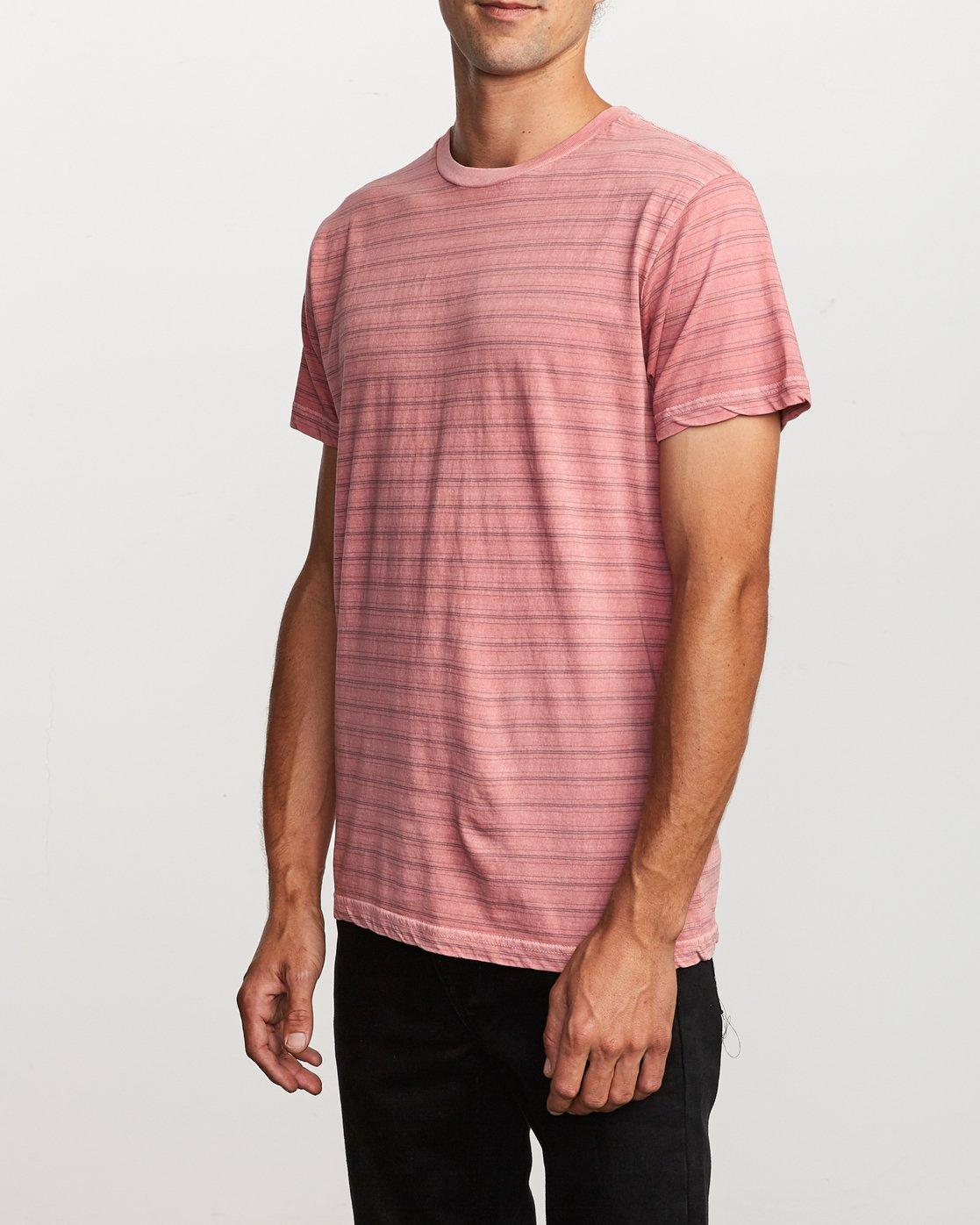 2 Saturation Stripe Knit T-Shirt Pink M901VRSS RVCA