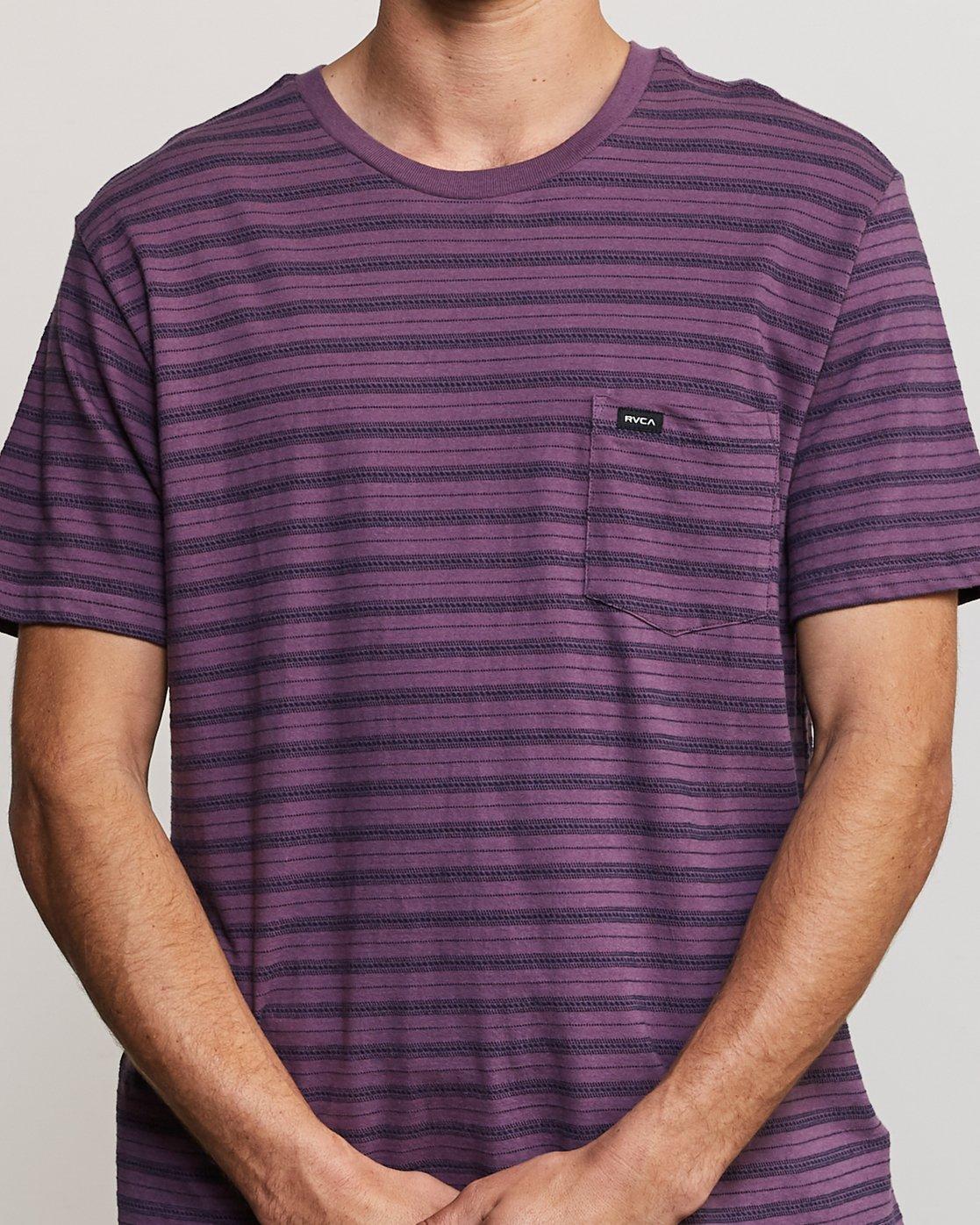 4 Shuffle Stripe Crew Knit Shirt Purple M902URSS RVCA