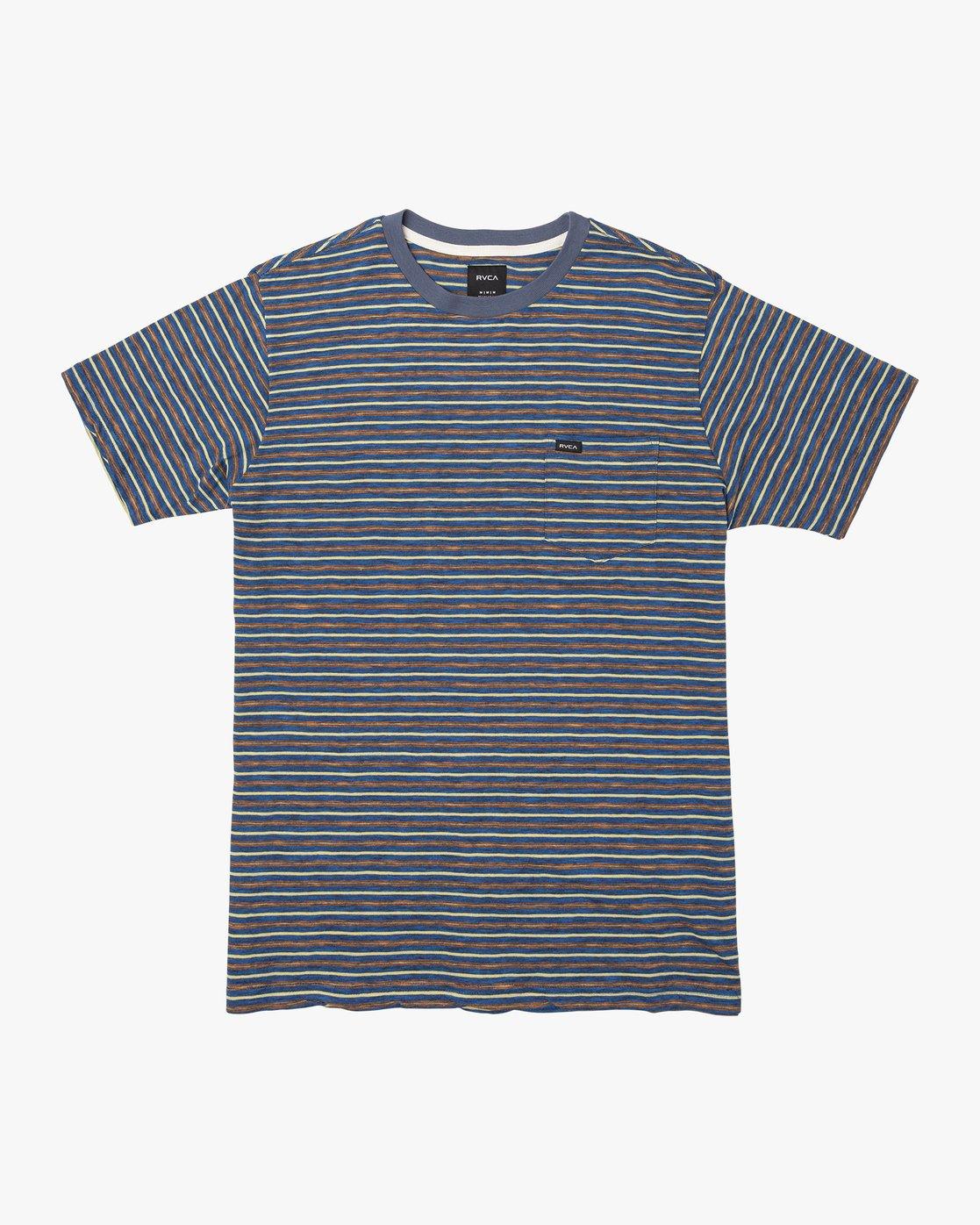 0 Foz Striped Crew Knit T-Shirt Blue M902VRFS RVCA