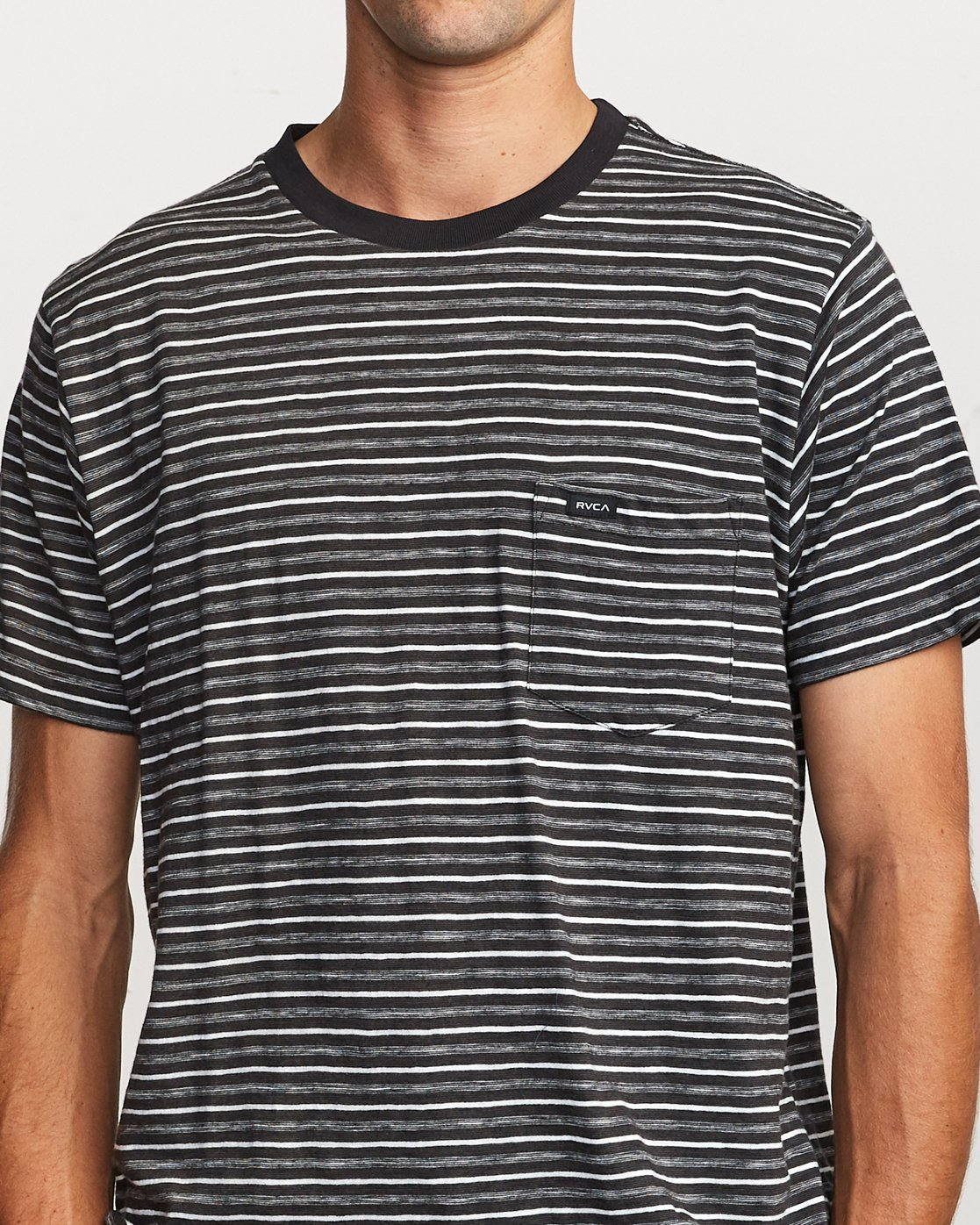4 Foz Striped Crew Knit T-Shirt Black M902VRFS RVCA