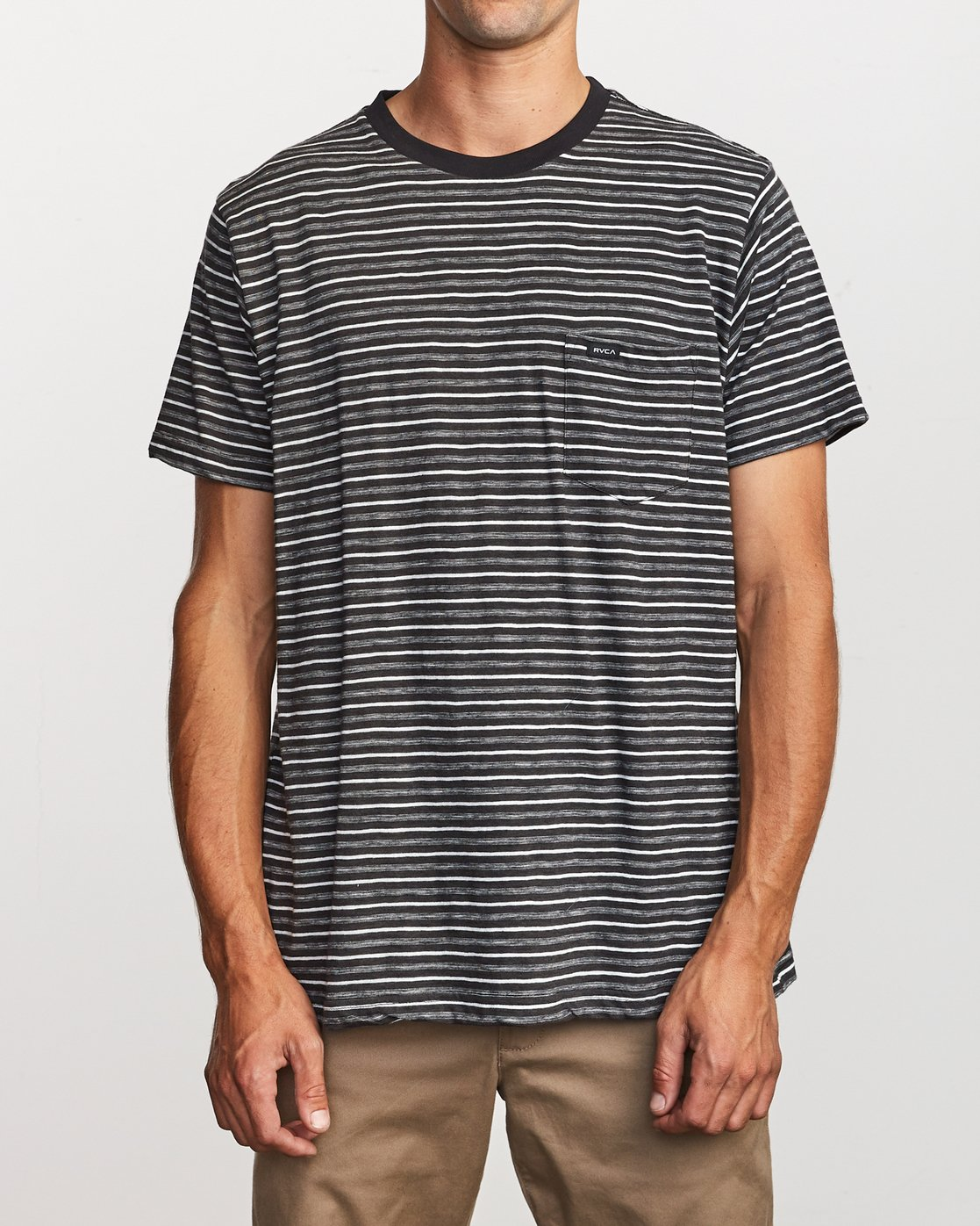 1 Foz Striped Crew Knit T-Shirt Black M902VRFS RVCA