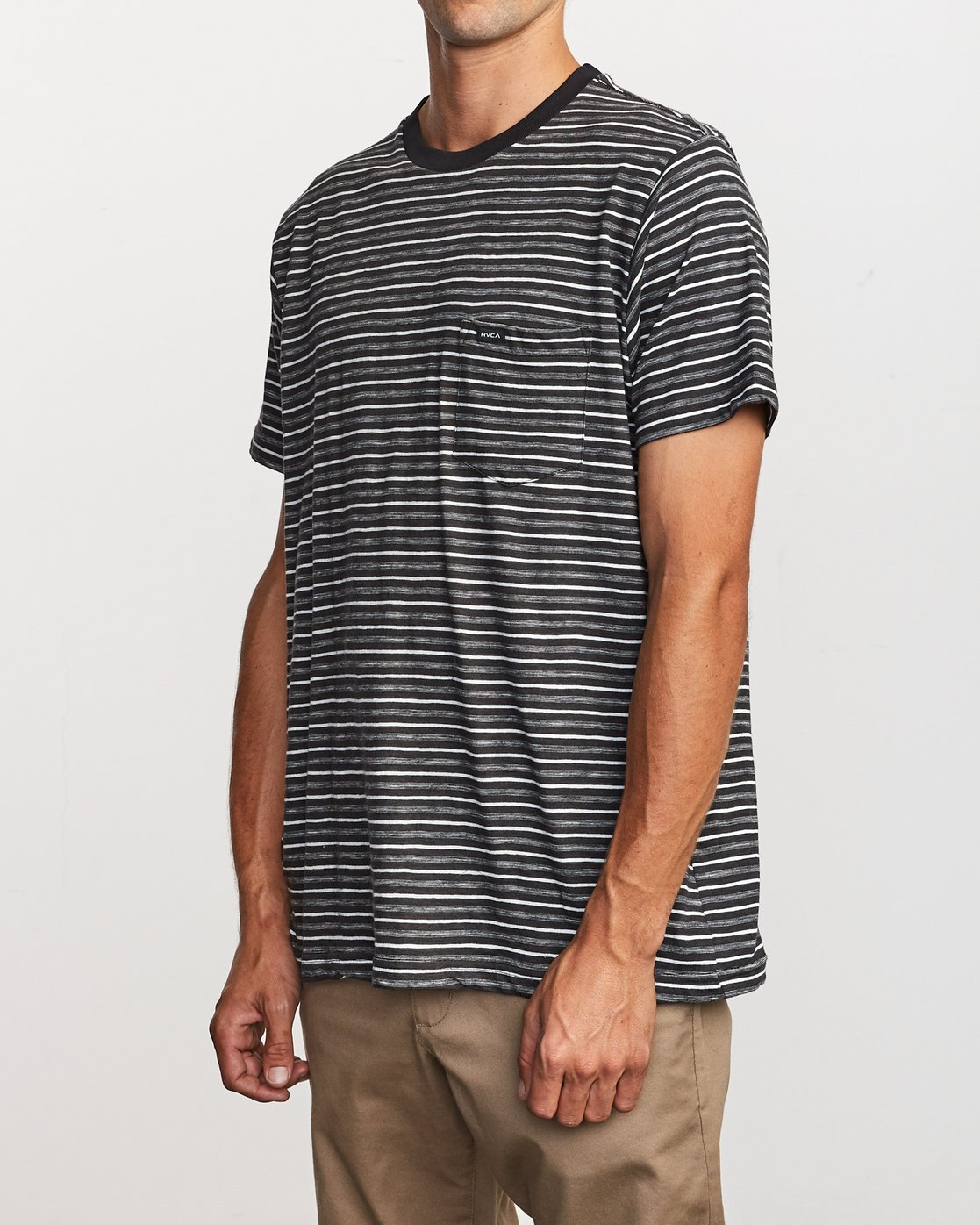 2 Foz Striped Crew Knit T-Shirt Black M902VRFS RVCA
