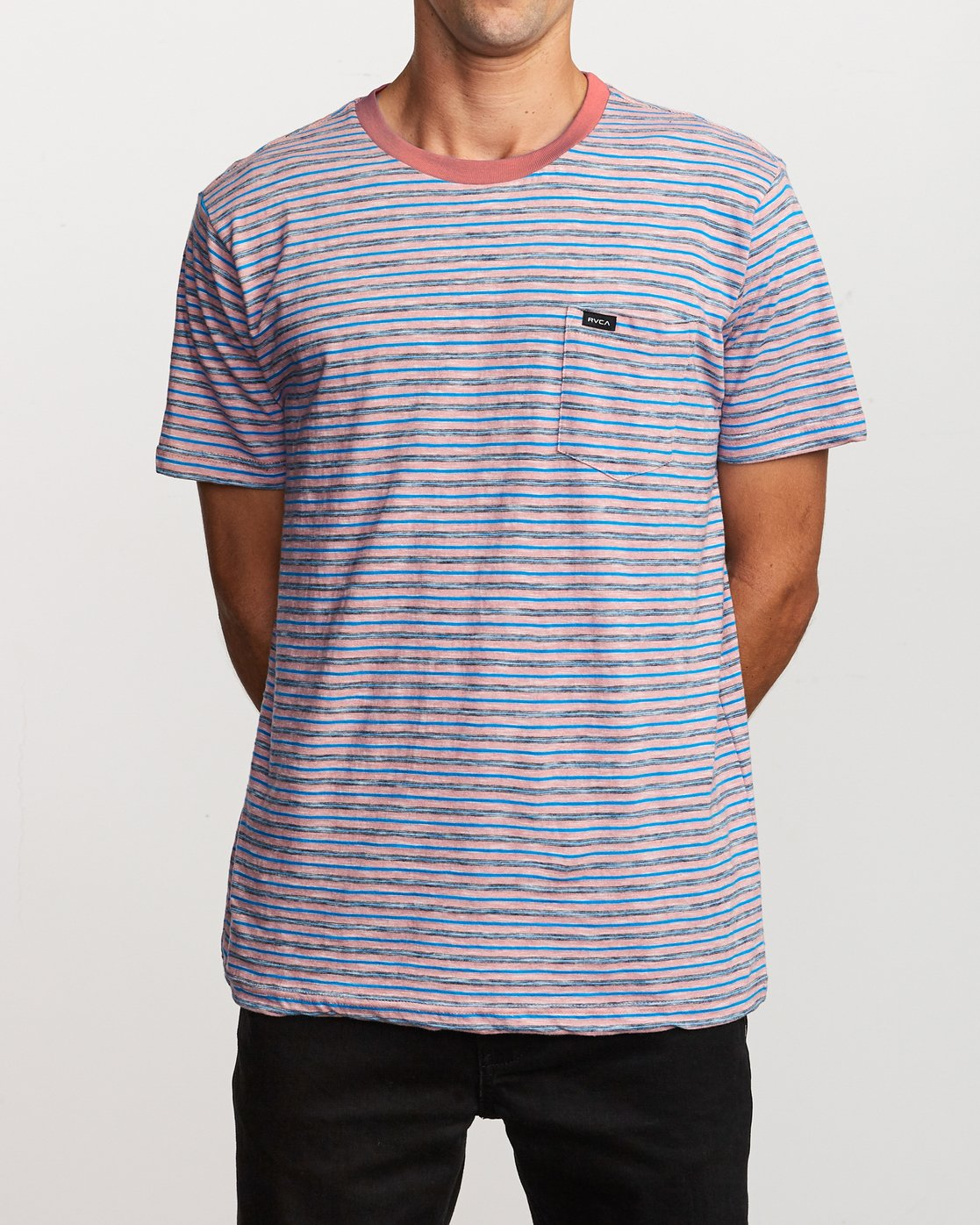 1 Foz Striped Crew Knit T-Shirt Grey M902VRFS RVCA
