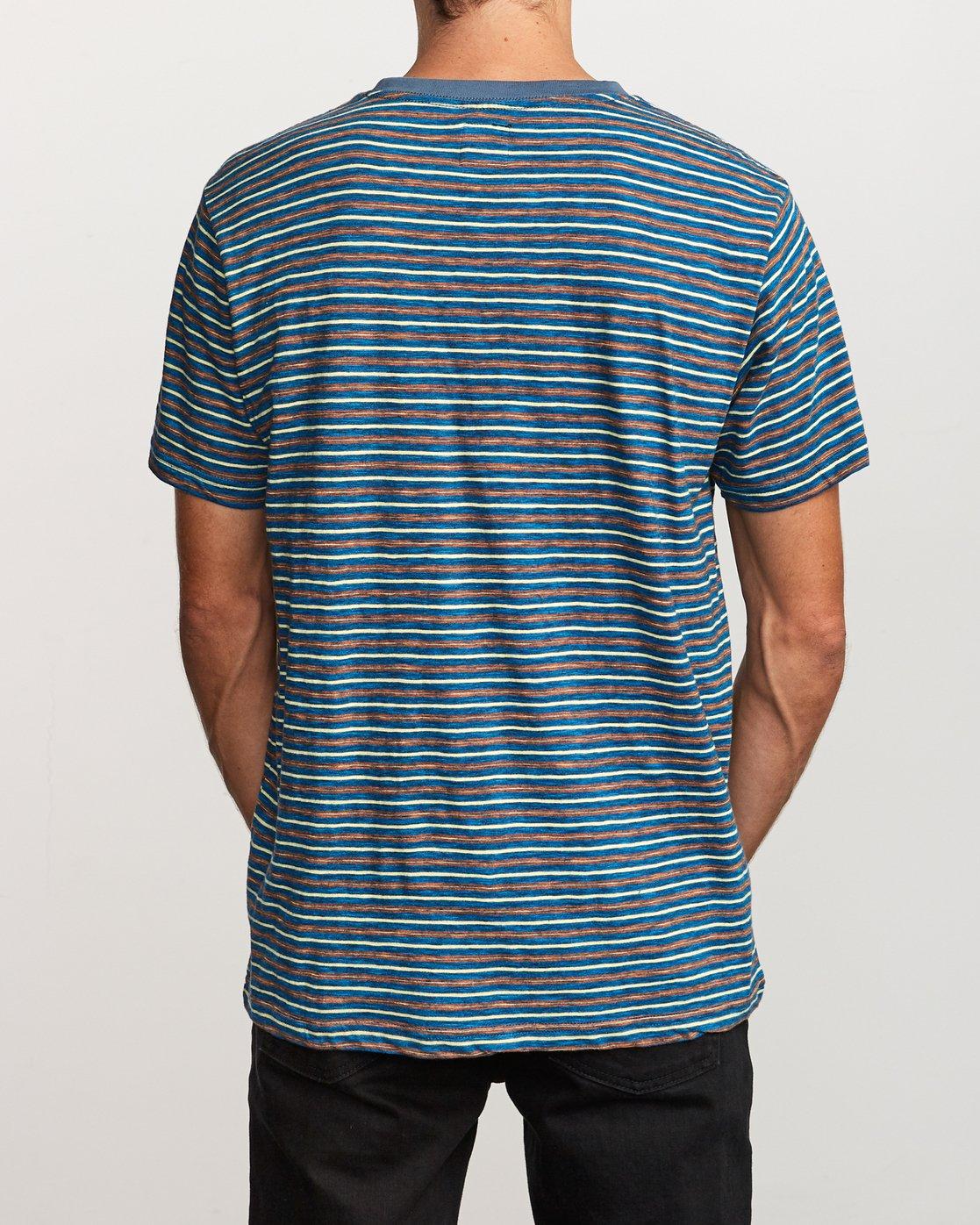 3 Foz Striped Crew Knit T-Shirt Blue M902VRFS RVCA