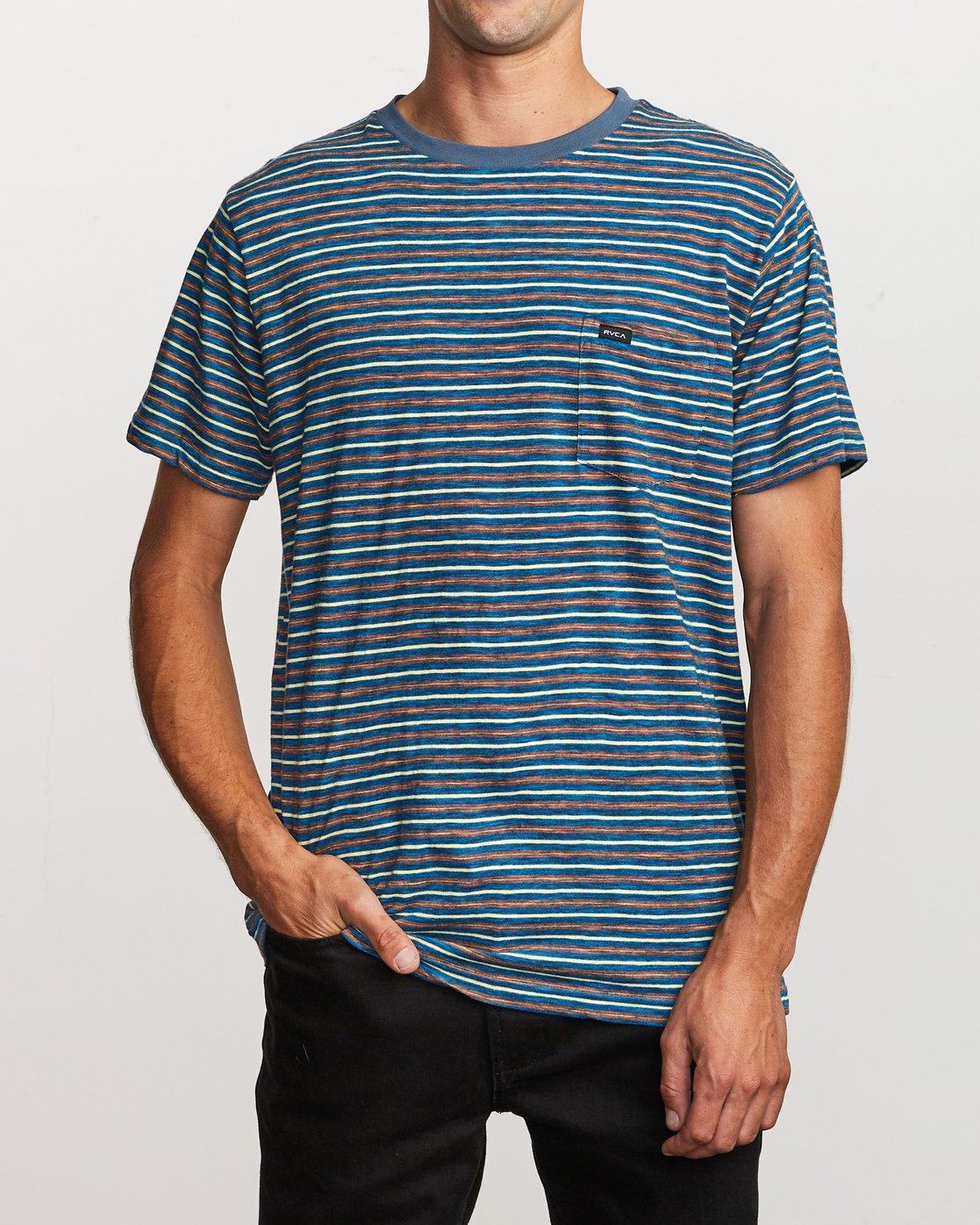 1 Foz Striped Crew Knit T-Shirt Blue M902VRFS RVCA