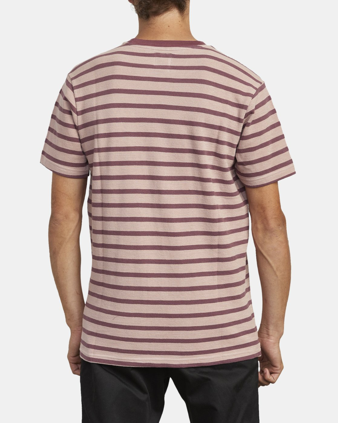 5 GREENWICH STRIPE SHORT SLEEVE KNIT TEE Red M9033RGS RVCA