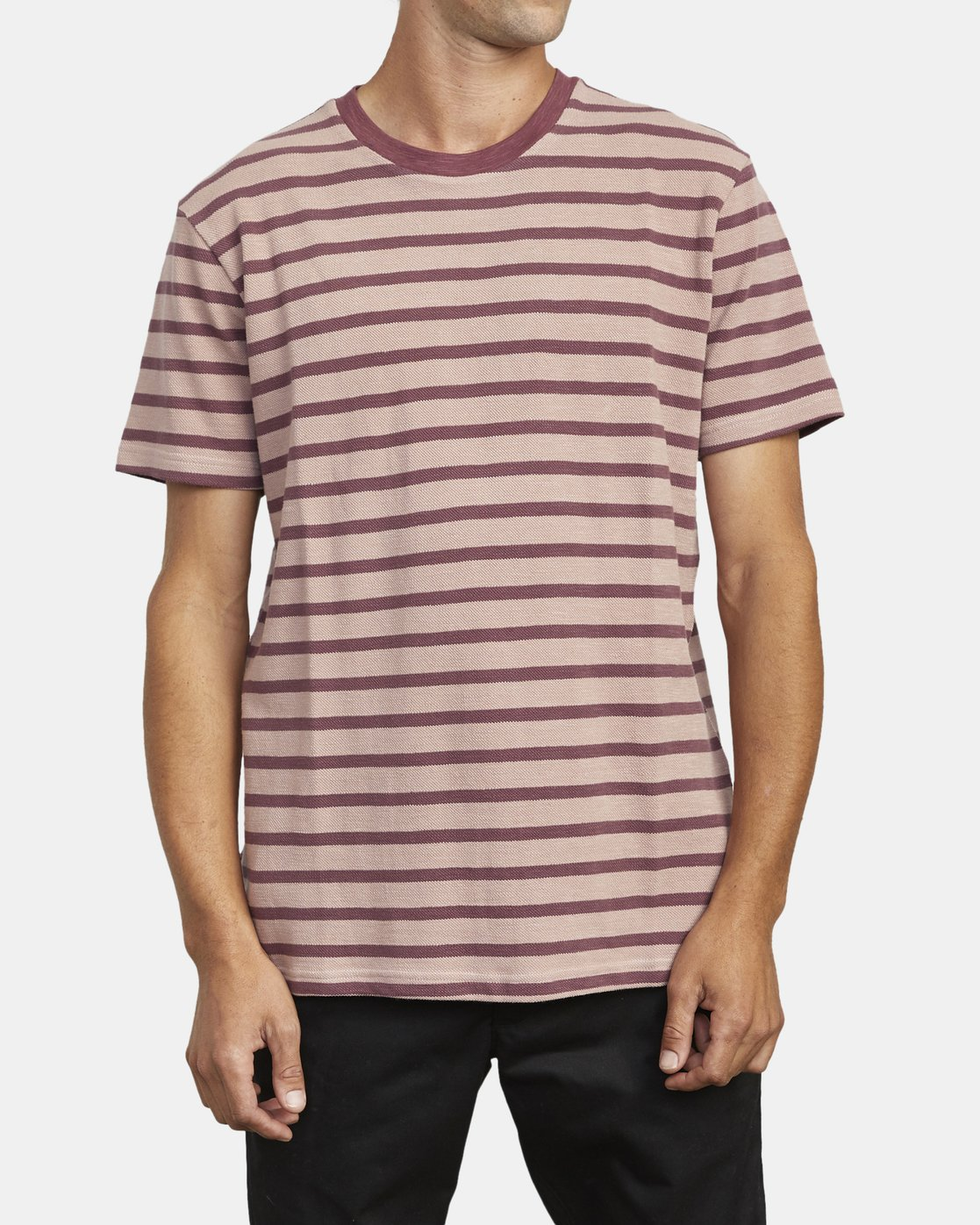 1 GREENWICH STRIPE SHORT SLEEVE KNIT TEE Red M9033RGS RVCA