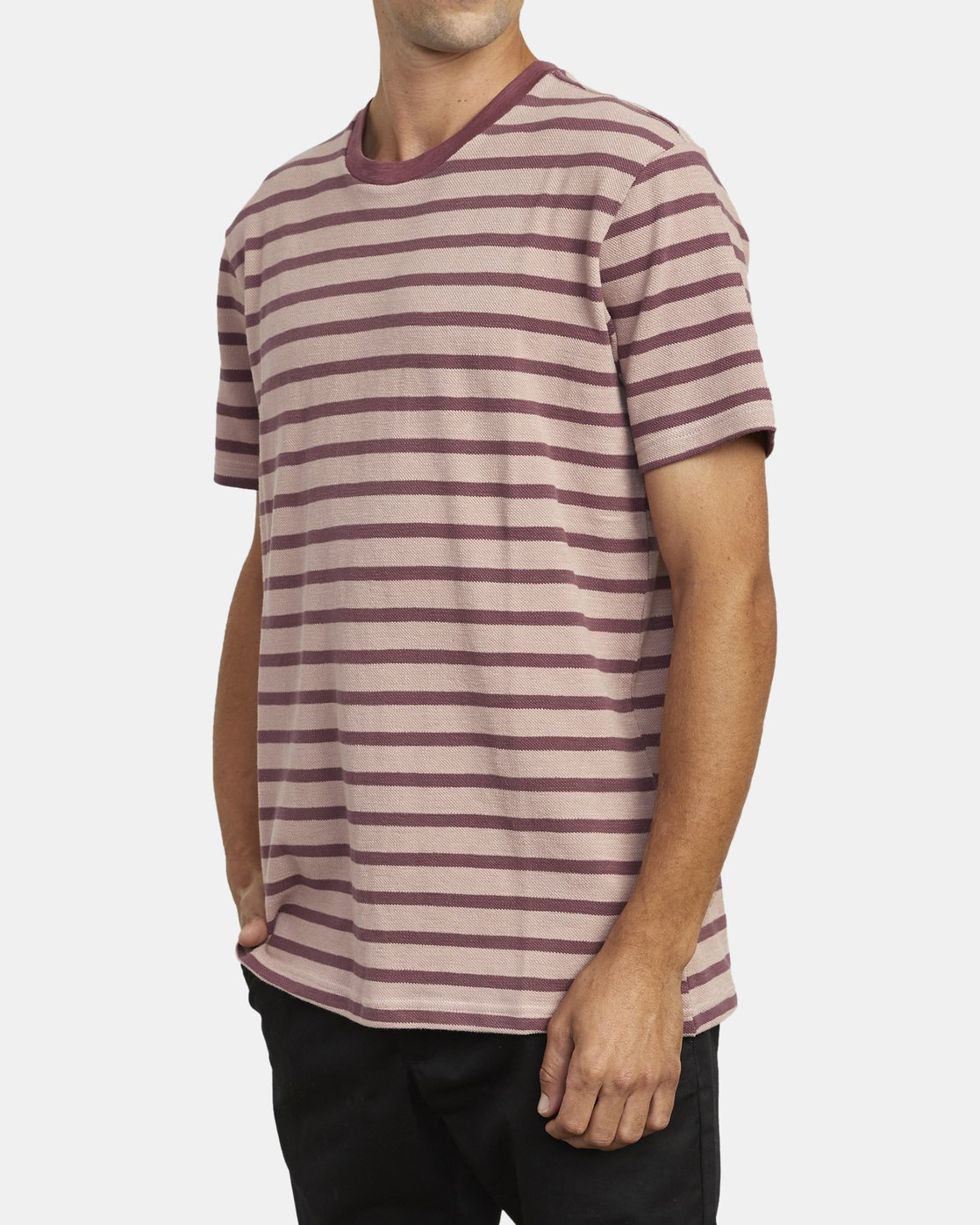 3 GREENWICH STRIPE SHORT SLEEVE KNIT TEE Red M9033RGS RVCA