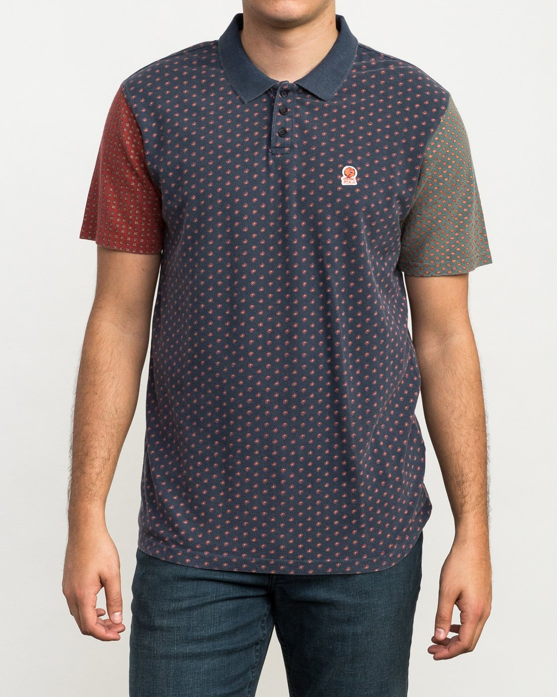 1 Remastered Printed Polo Shirt Blue M903QRRP RVCA