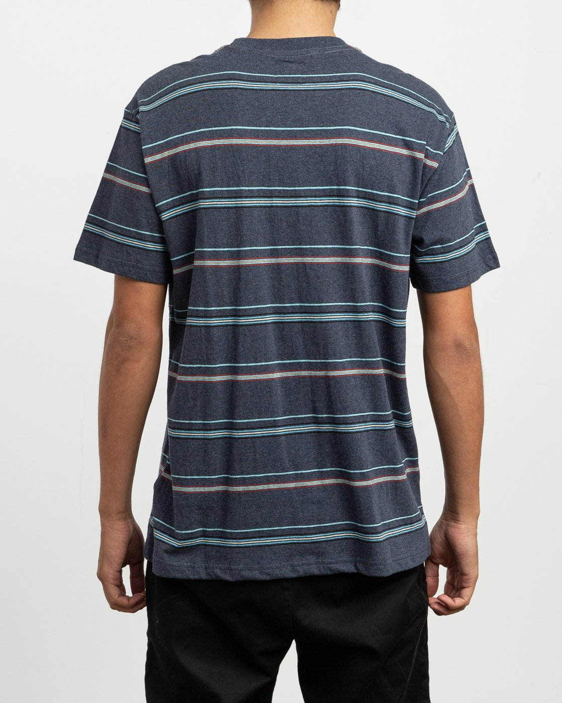 3 Avila Striped Knit T-Shirt Blue M903TRAS RVCA