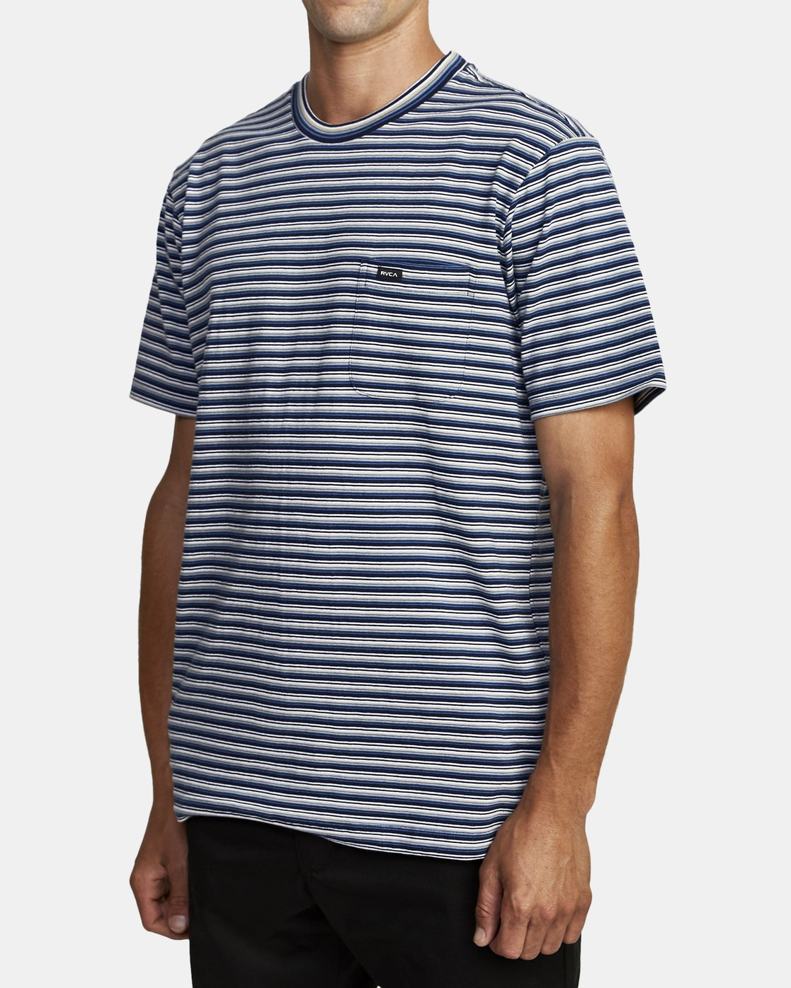 7 DOWNLINE STRIPE SHORT SLEEVE T-SHIRT Blue M9042RDL RVCA