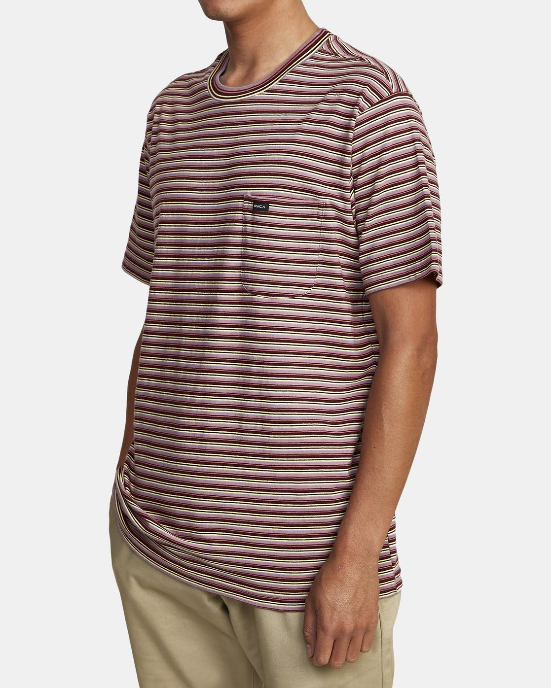 7 DOWNLINE STRIPE SHORT SLEEVE T-SHIRT Red M9042RDL RVCA