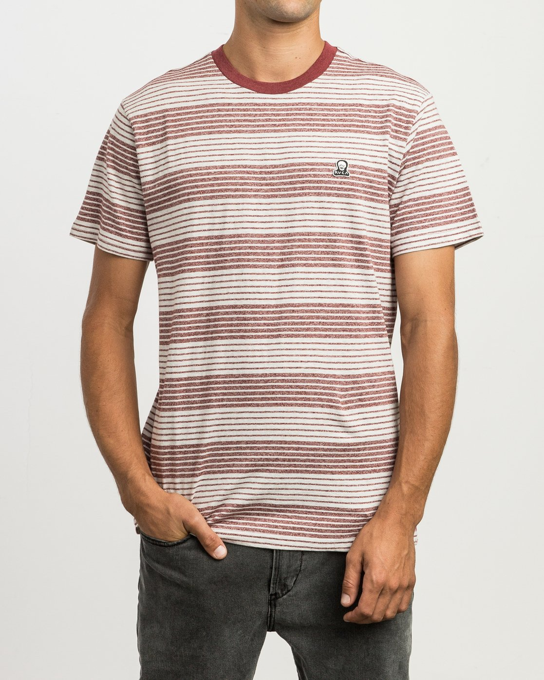 1 Longsight Striped T-Shirt Red M904SRLS RVCA