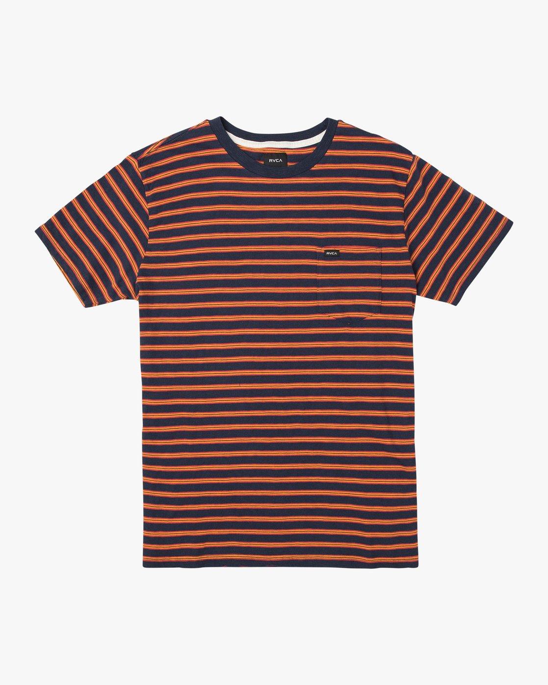 0 Vincent Stripe Crew Knit Shirt Blue M904URVS RVCA