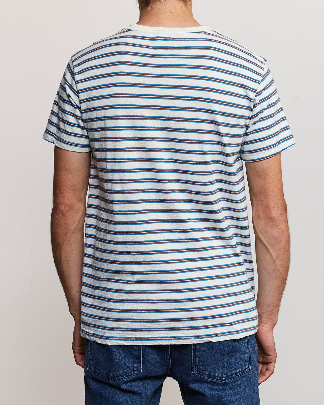 3 Vincent Stripe Crew Knit Shirt Silver M904URVS RVCA