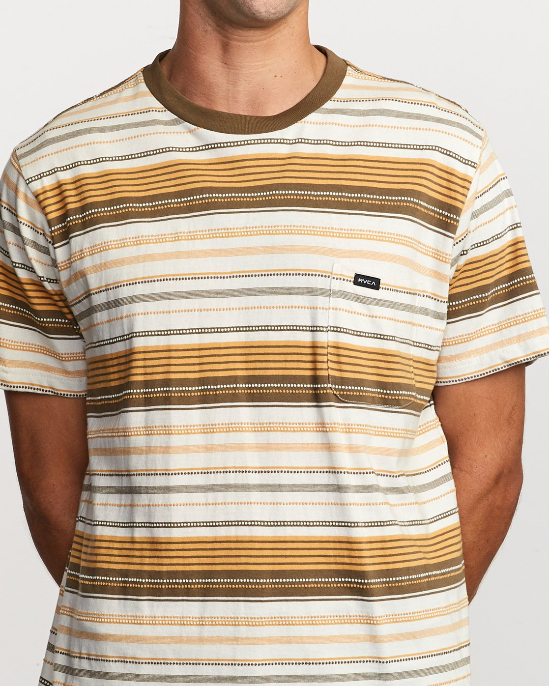 4 Deadbeat Stripe Knit T-Shirt Orange M904VRDS RVCA