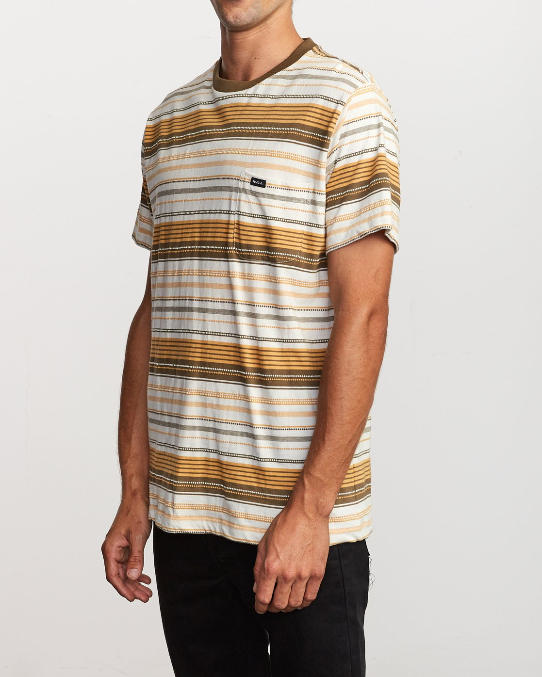 2 Deadbeat Stripe Knit T-Shirt Orange M904VRDS RVCA