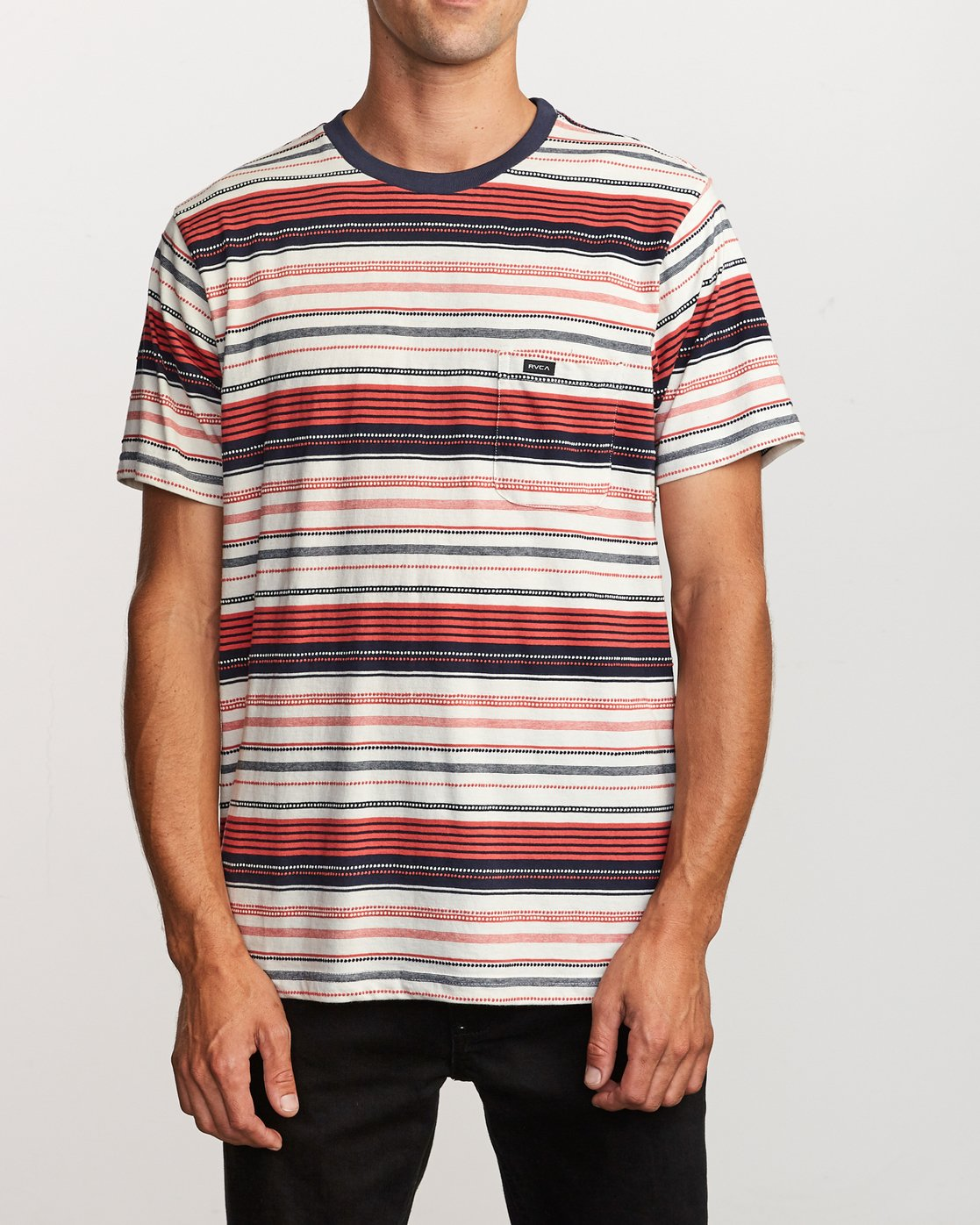 2 Deadbeat Stripe Knit T-Shirt Green M904VRDS RVCA
