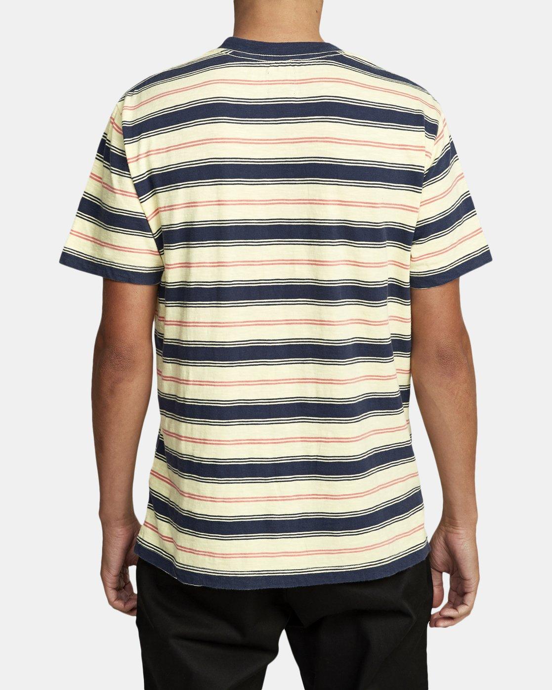 5 DAVIS STRIPE SHORT SLEEVE Knit Tee Yellow M9052RDS RVCA