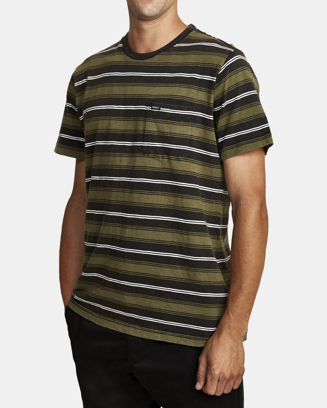 1 DAVIS STRIPE SHORT SLEEVE Knit Tee Black M9052RDS RVCA