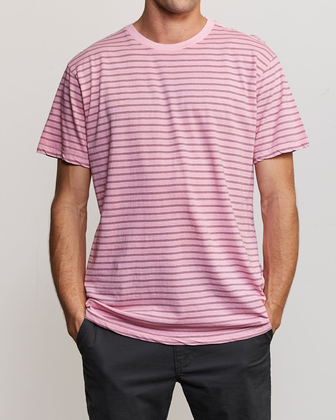 1 Automatic Stripe Knit Shirt Pink M905TRCS RVCA