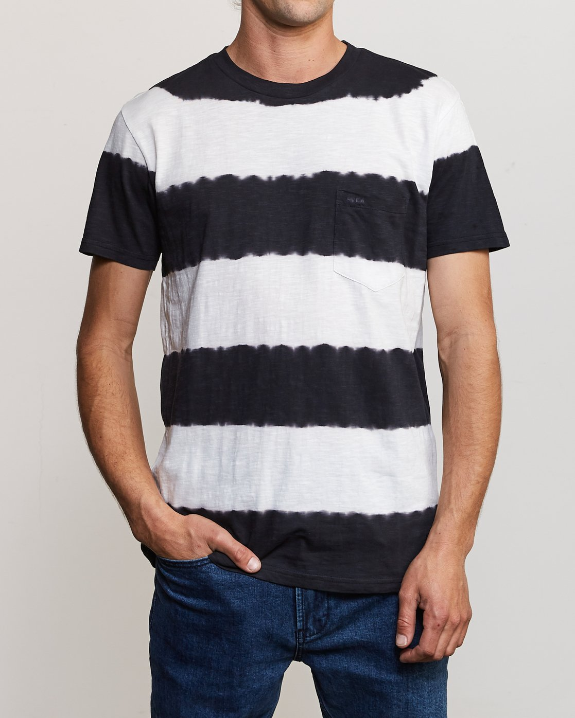 2 Kamli Stripe Knit Shirt Black M905URIS RVCA