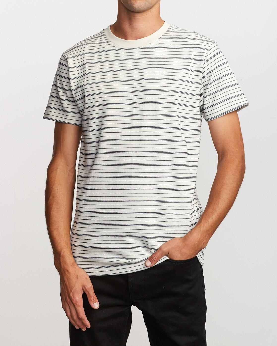1 Amenity Stripe Knit T-Shirt Silver M906VRAT RVCA