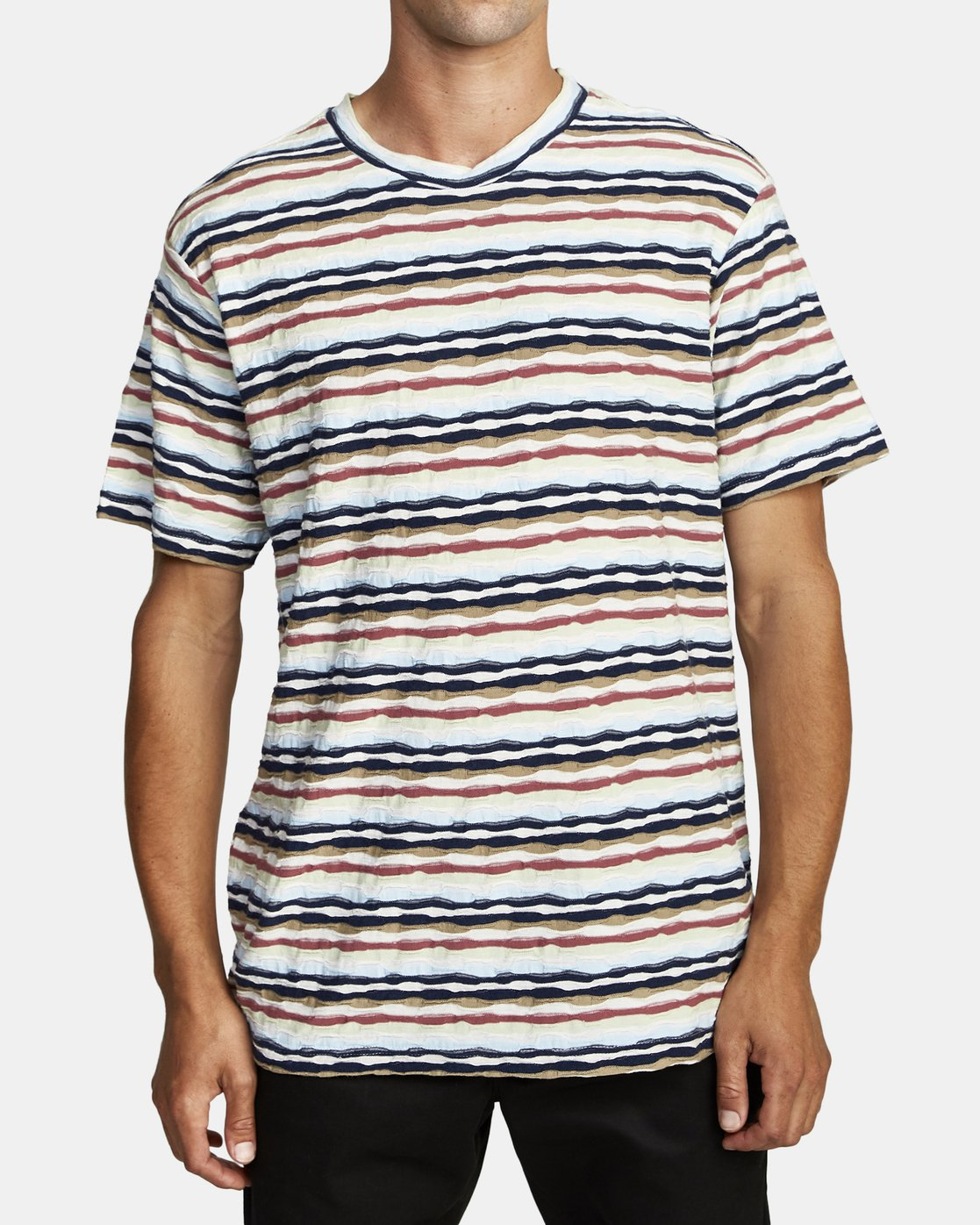 1 KYEO STRIPE SHORT SLEEVE T-SHIRT Grey M9072RKY RVCA