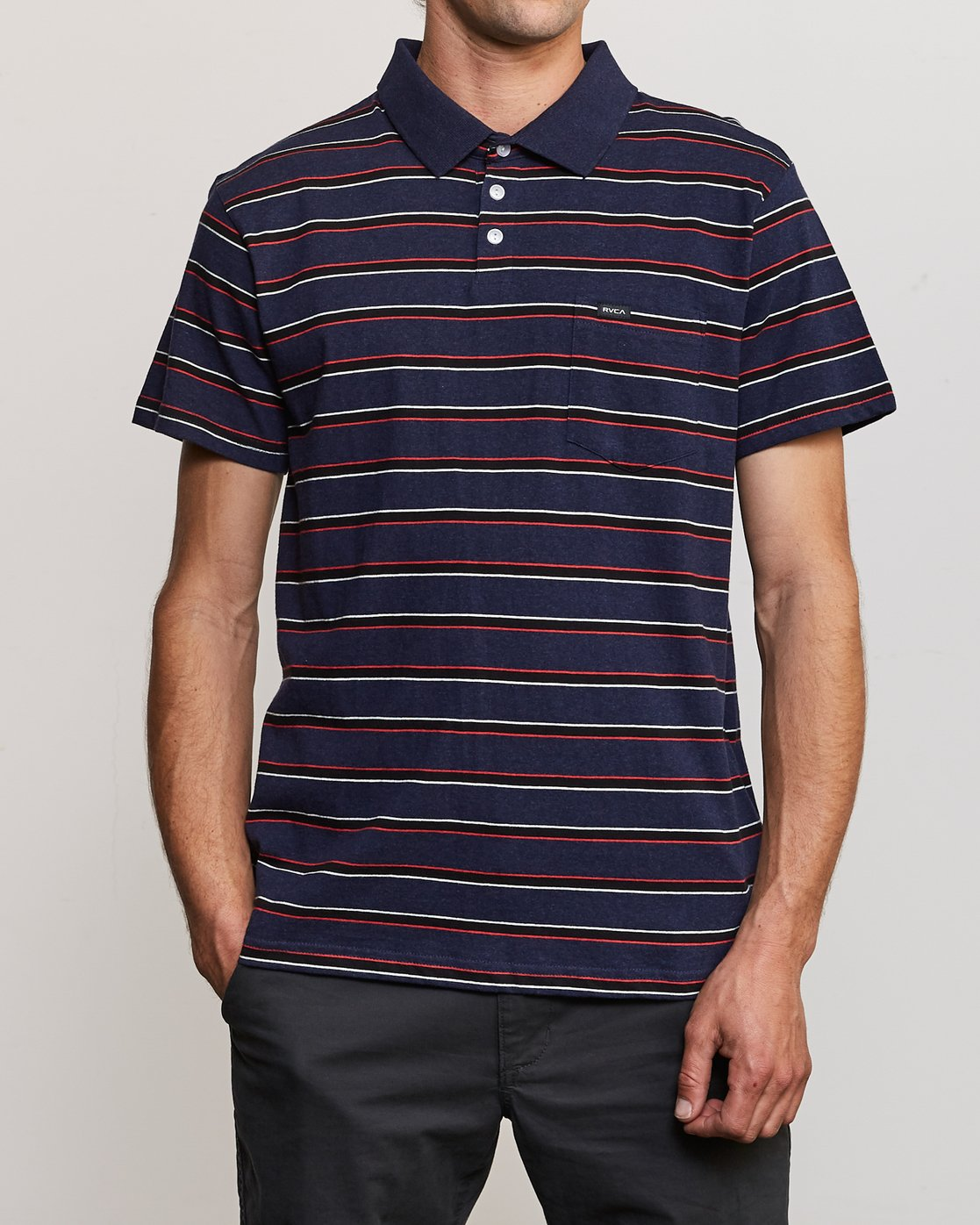 1 Desmond Stripe Polo Shirt Blue M908URDS RVCA