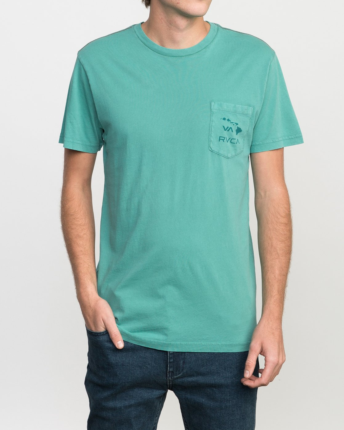 1 Islands PTC Fade Pocket T-Shirt Green M912NRIP RVCA