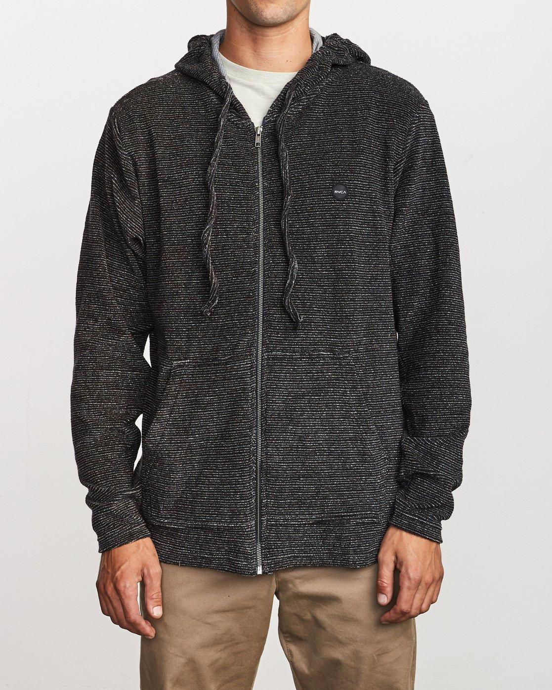 1 Super Marle Zip Knit Hoodie Black M951VRSM RVCA