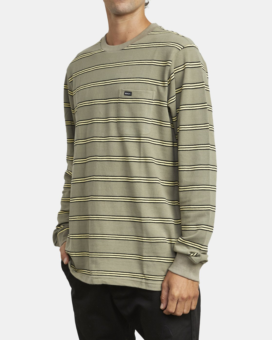 3 BLOOM PIQUE LONG SLEEVE KNIT TEE Green M9523RBP RVCA