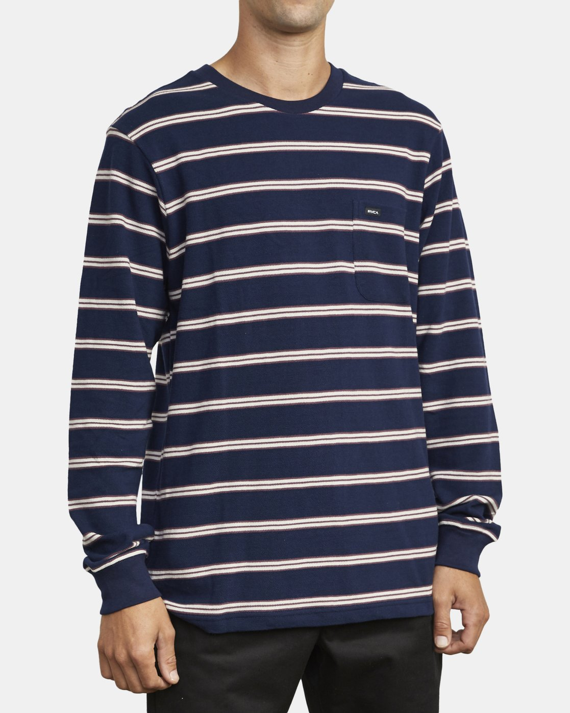 4 BLOOM PIQUE LONG SLEEVE KNIT TEE Blue M9523RBP RVCA