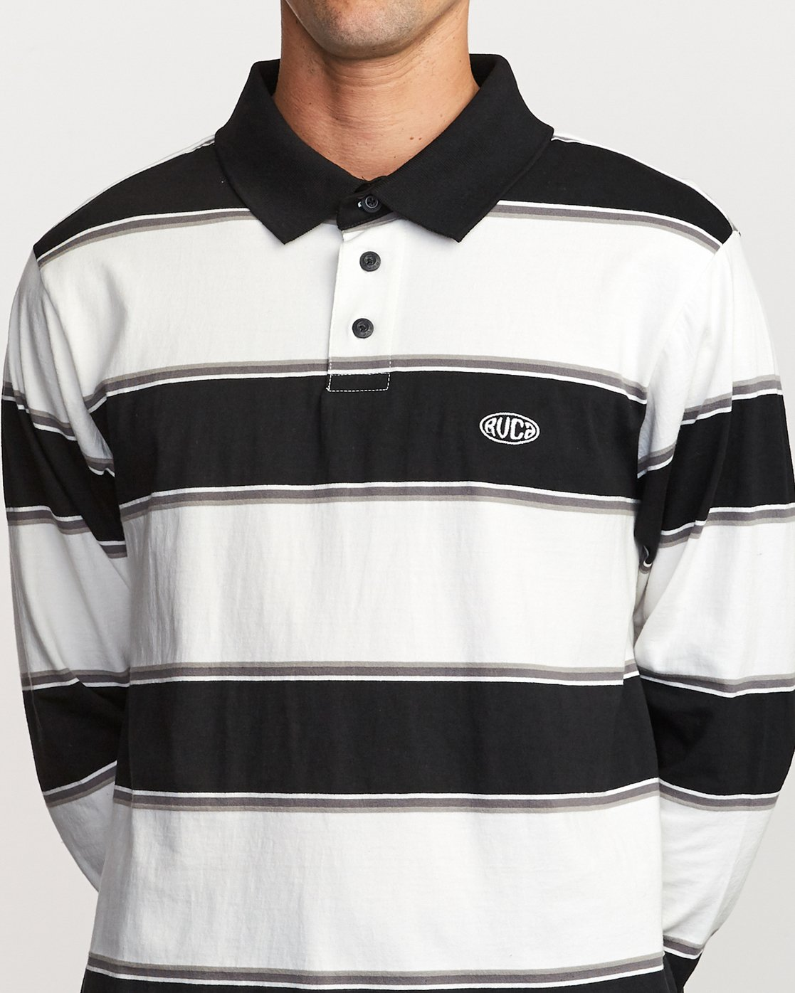 4 April Skies Long Sleeve Polo White M952VRAS RVCA